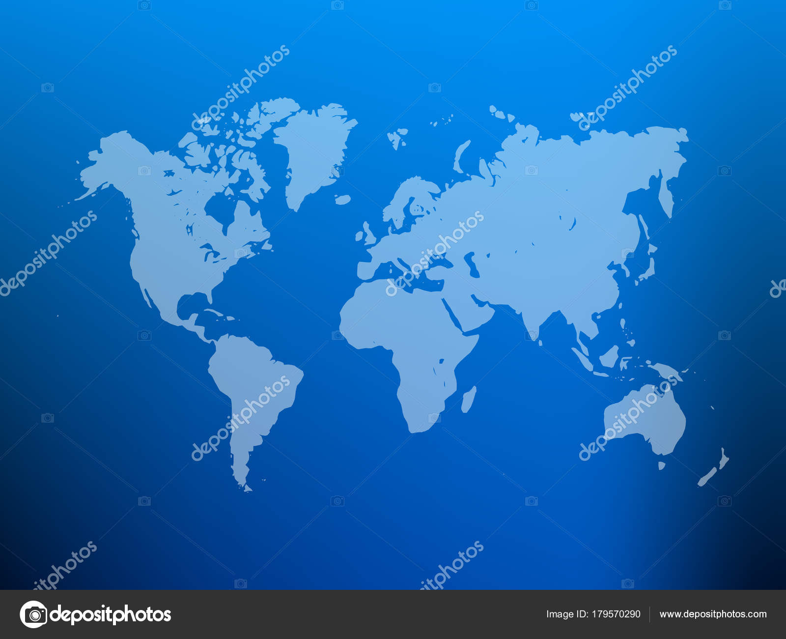 partly transparent world map silhouette on blue gradient mesh background vector illustration stock vector