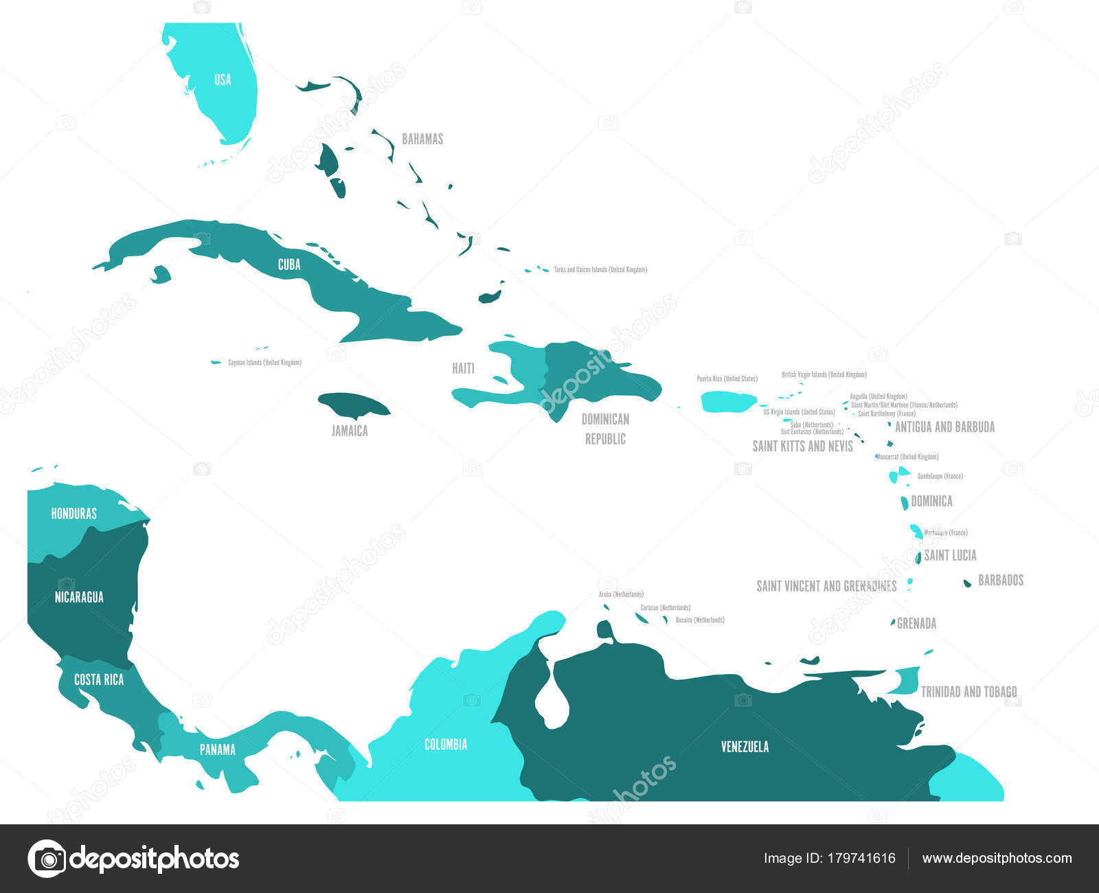 Central america and caribbean states political map in four shades of central america and caribbean states political map in four shades of turquoise blue with black country names labels simple flat vector illustration gumiabroncs Images