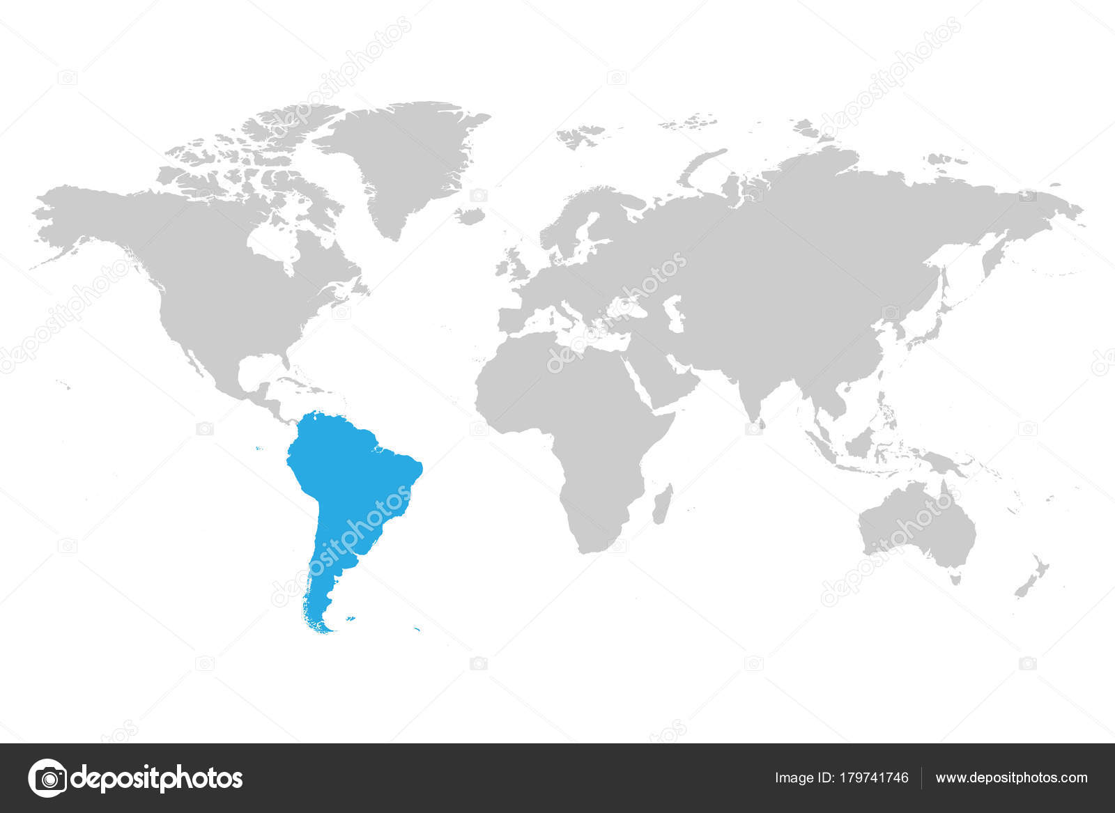 Simple World Map Flat. South America continent blue marked in grey silhouette of World map  Simple flat vector illustration