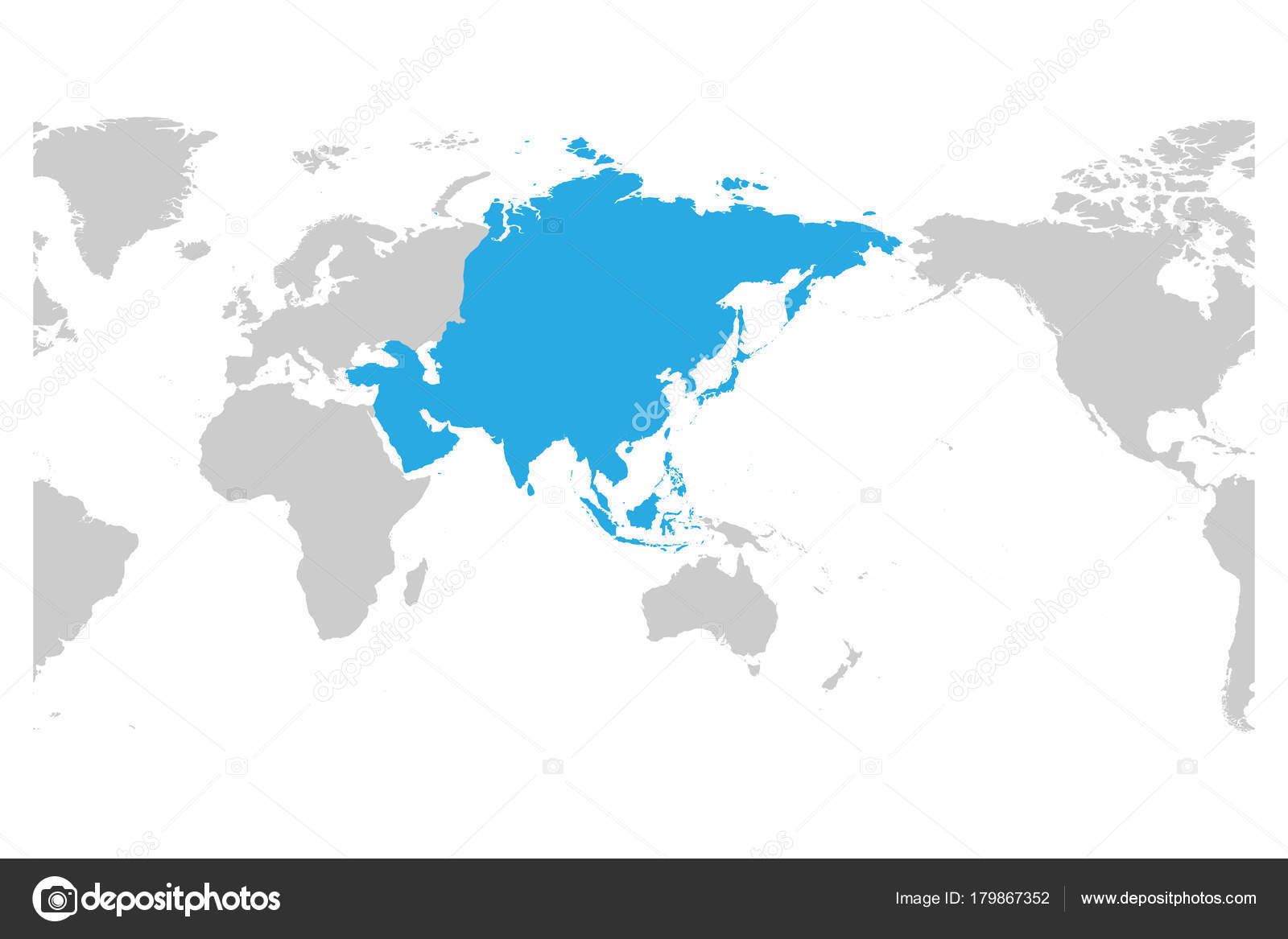 Asia continent blue marked in grey silhouette of world map centered asia continent blue marked in grey silhouette of world map centered on asia simple flat vector illustration vector by pyty gumiabroncs Image collections