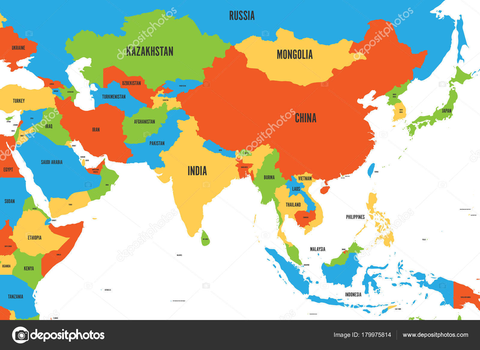 colorful political map of western southern and eastern asia simple flat vector illustration