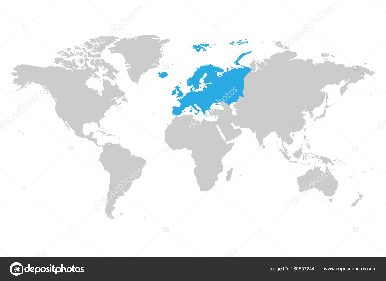 Europe continent blue marked in grey silhouette of world map simple europe continent blue marked in grey silhouette of world map simple flat vector illustration gumiabroncs Gallery