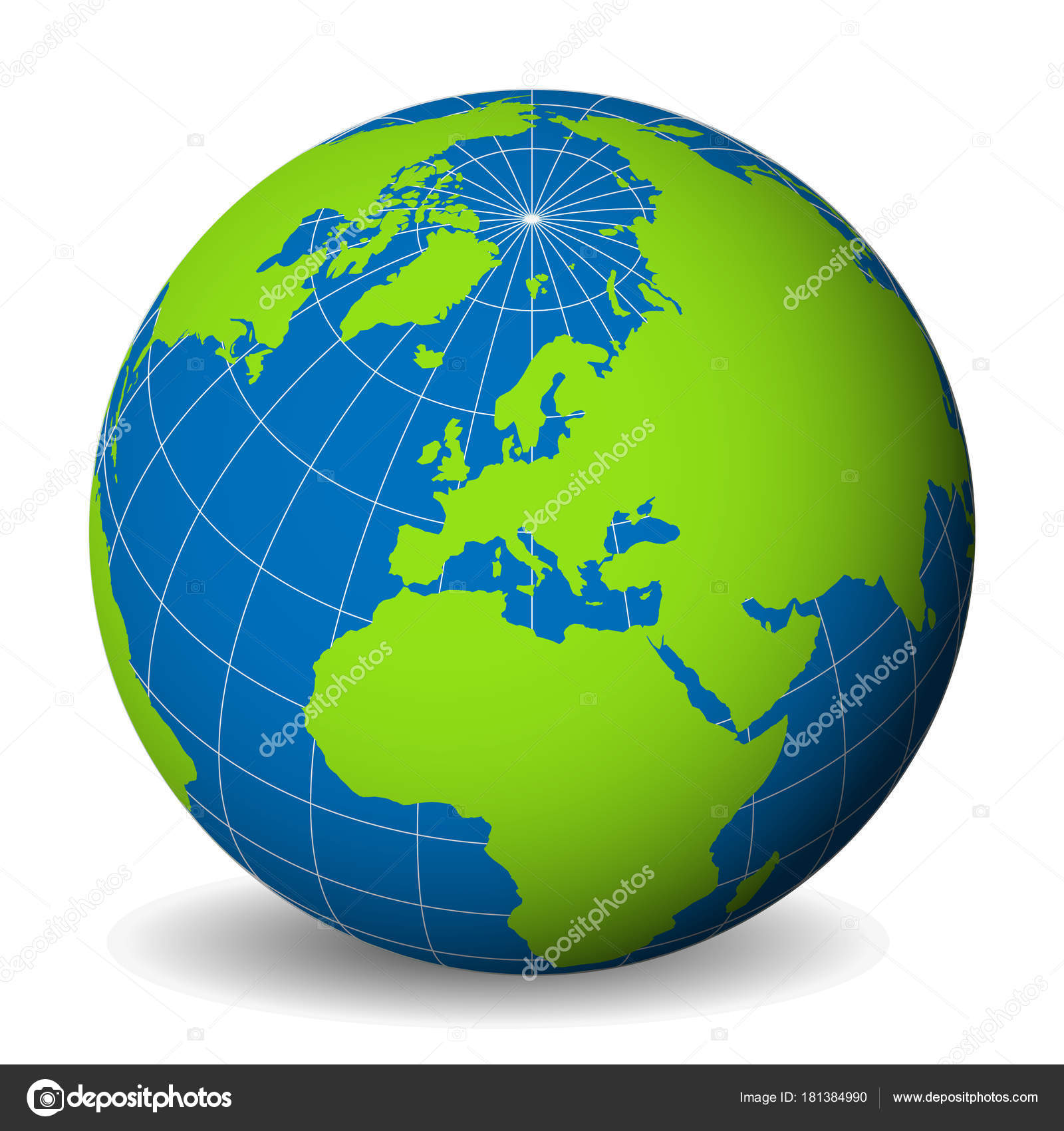Earth globe with green world map and blue seas and oceans focused od earth globe with green world map and blue seas and oceans focused od europe with thin white meridians and parallels 3d vector illustration gumiabroncs Gallery
