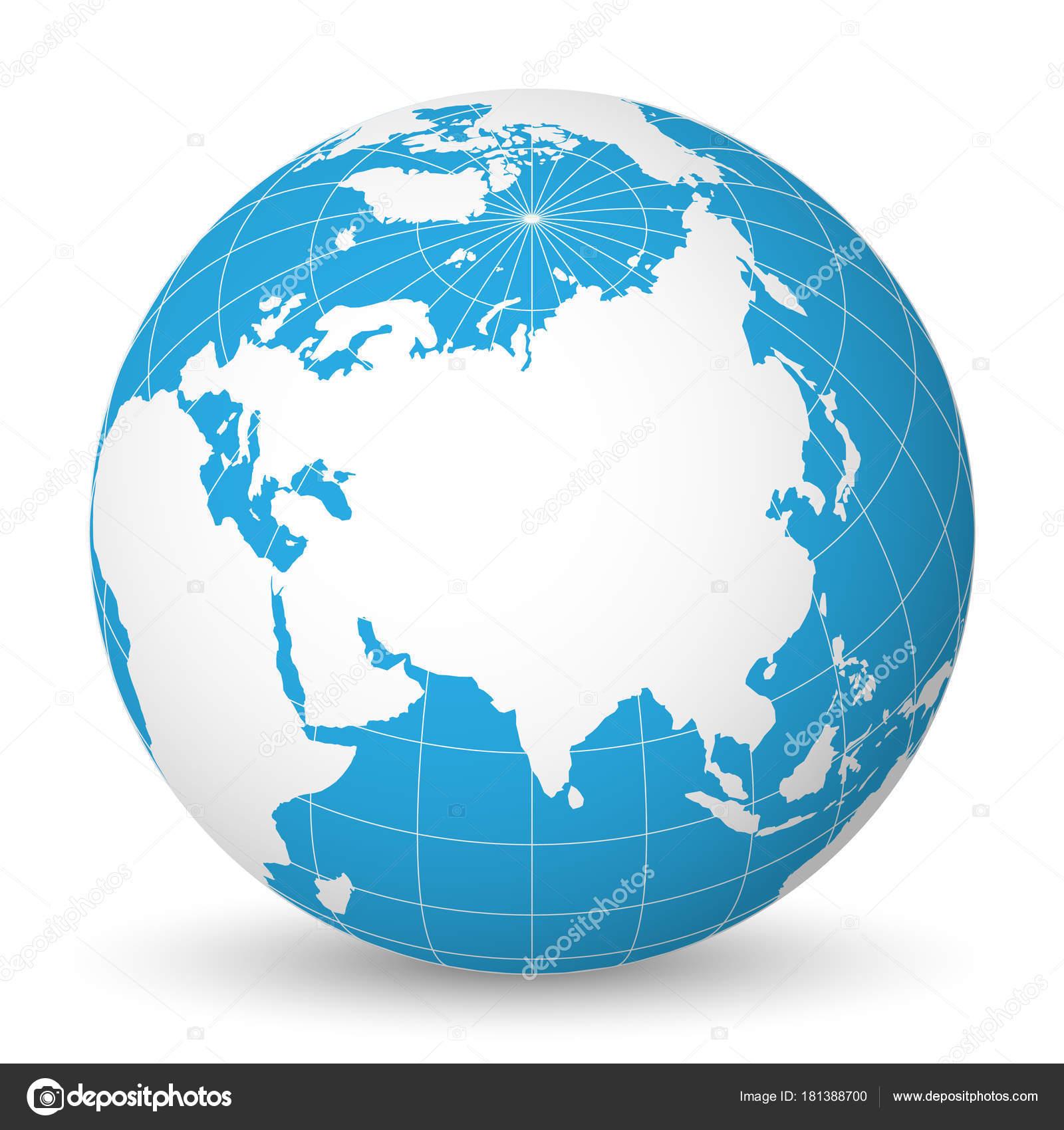 Cartina Del Mondo Con Meridiani E Paralleli.Globo Della Terra Con Mondo Bianco Blu E Mappa Mari E Oceani