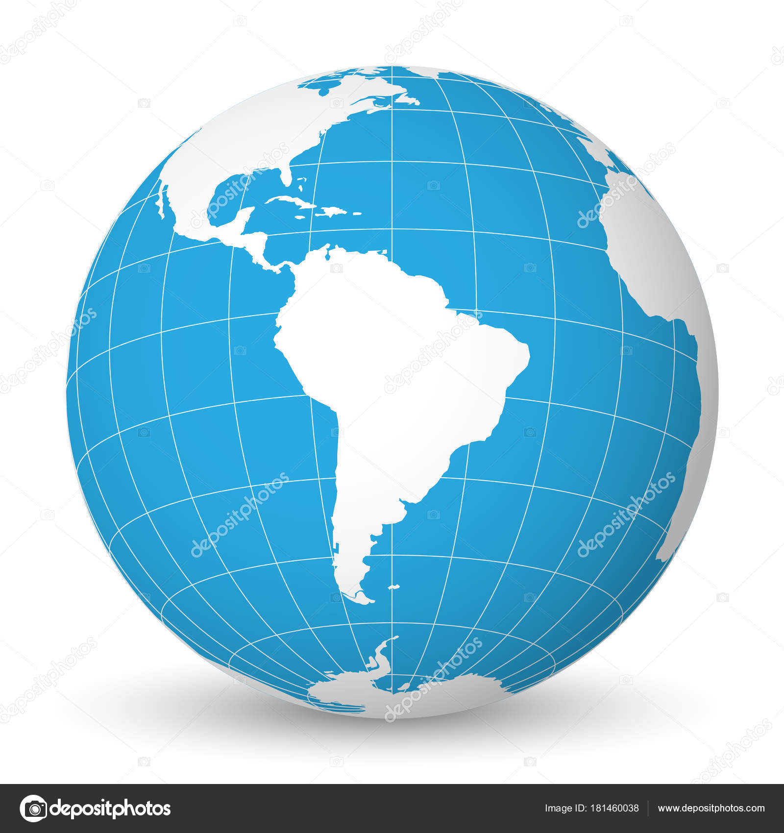 Earth globe with white world map and blue seas and oceans focused on earth globe with green world map and blue seas and oceans focused on south america with thin white meridians and parallels 3d vector illustration gumiabroncs Gallery
