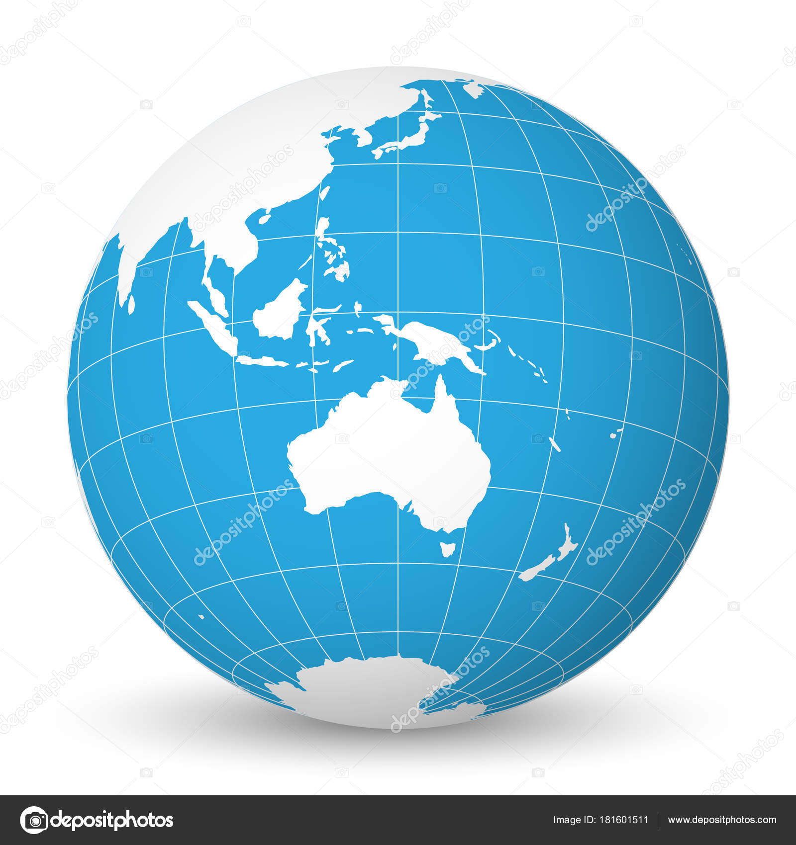 Earth globe with white world map and blue seas and oceans focused on earth globe with green world map and blue seas and oceans focused on australia with thin white meridians and parallels 3d vector illustration gumiabroncs Image collections