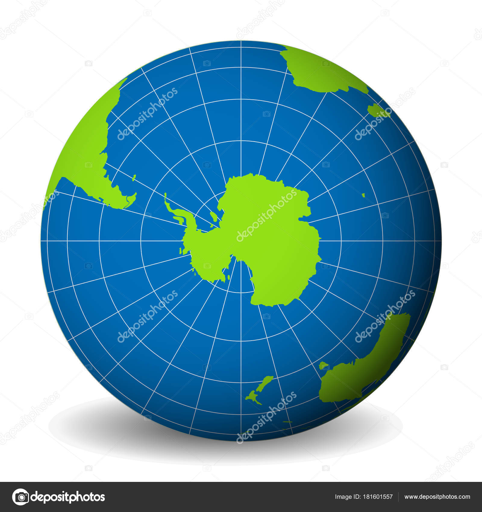 Earth globe with green world map and blue seas and oceans focused on earth globe with green world map and blue seas and oceans focused on antarctica with south pole with thin white meridians and parallels 3d vector gumiabroncs Image collections