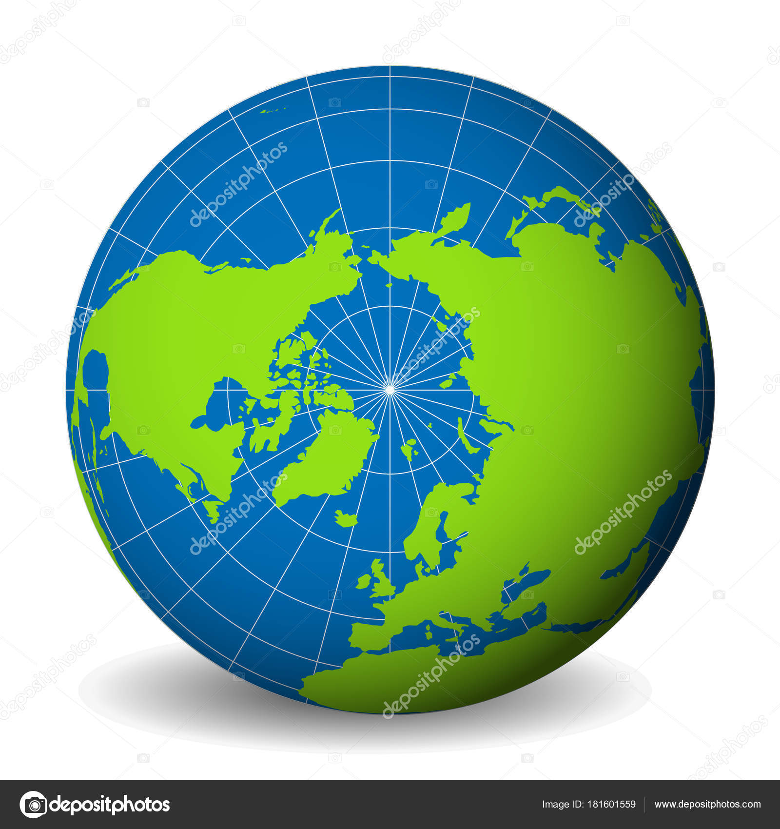Earth globe with green world map and blue seas and oceans focused on earth globe with green world map and blue seas and oceans focused on arctic ocean and north pole with thin white meridians and parallels gumiabroncs Choice Image