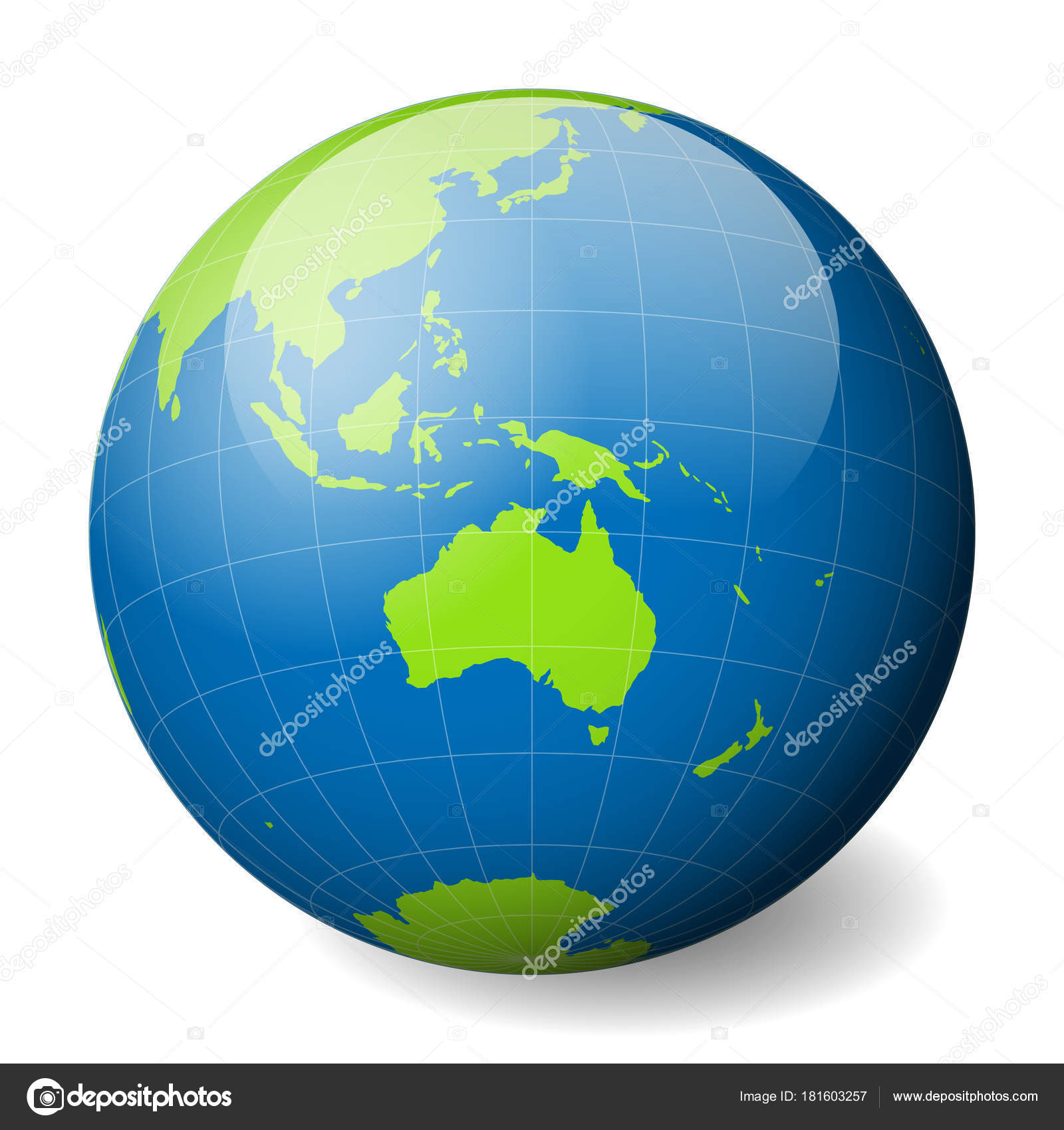 Australia Map Globe.Earth Globe With Green World Map And Blue Seas And Oceans Focused On
