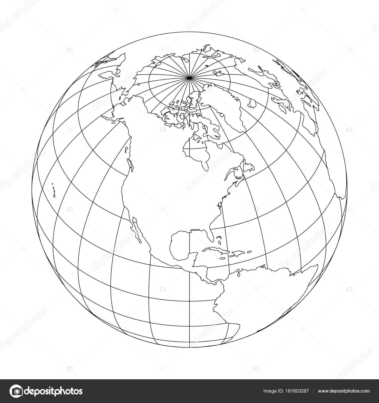 Superb Outline Earth Globe With Map Of World Focused On North America. Vector  Illustration U2014 Stock