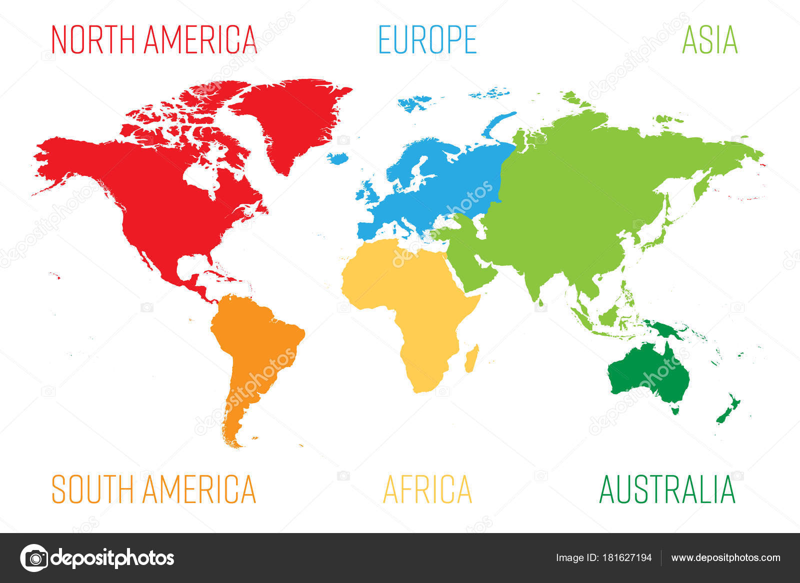 World map divided into six continents each continent in different world map divided into six continents each continent in different color simple flat vector gumiabroncs Gallery