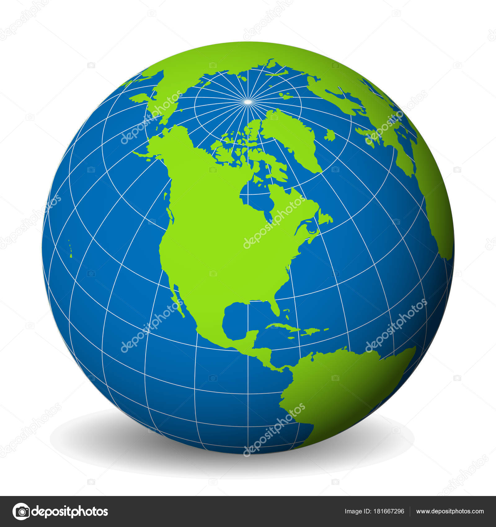 Earth globe with green world map and blue seas and oceans focused on earth globe with green world map and blue seas and oceans focused on north america with thin white meridians and parallels 3d vector illustration gumiabroncs Gallery