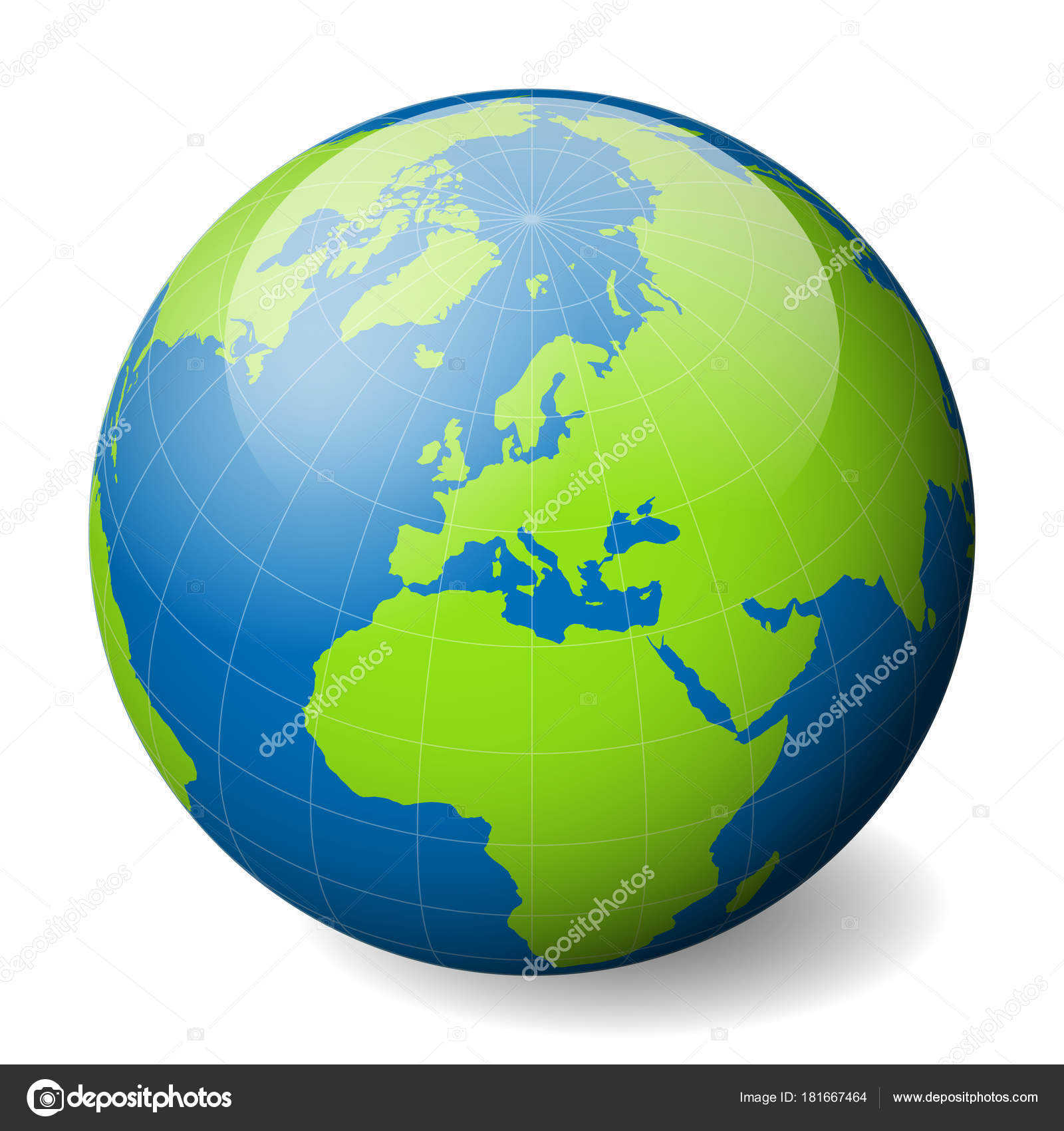 Earth globe with green world map and blue seas and oceans focused on earth globe with green world map and blue seas and oceans focused on europe with gumiabroncs Choice Image
