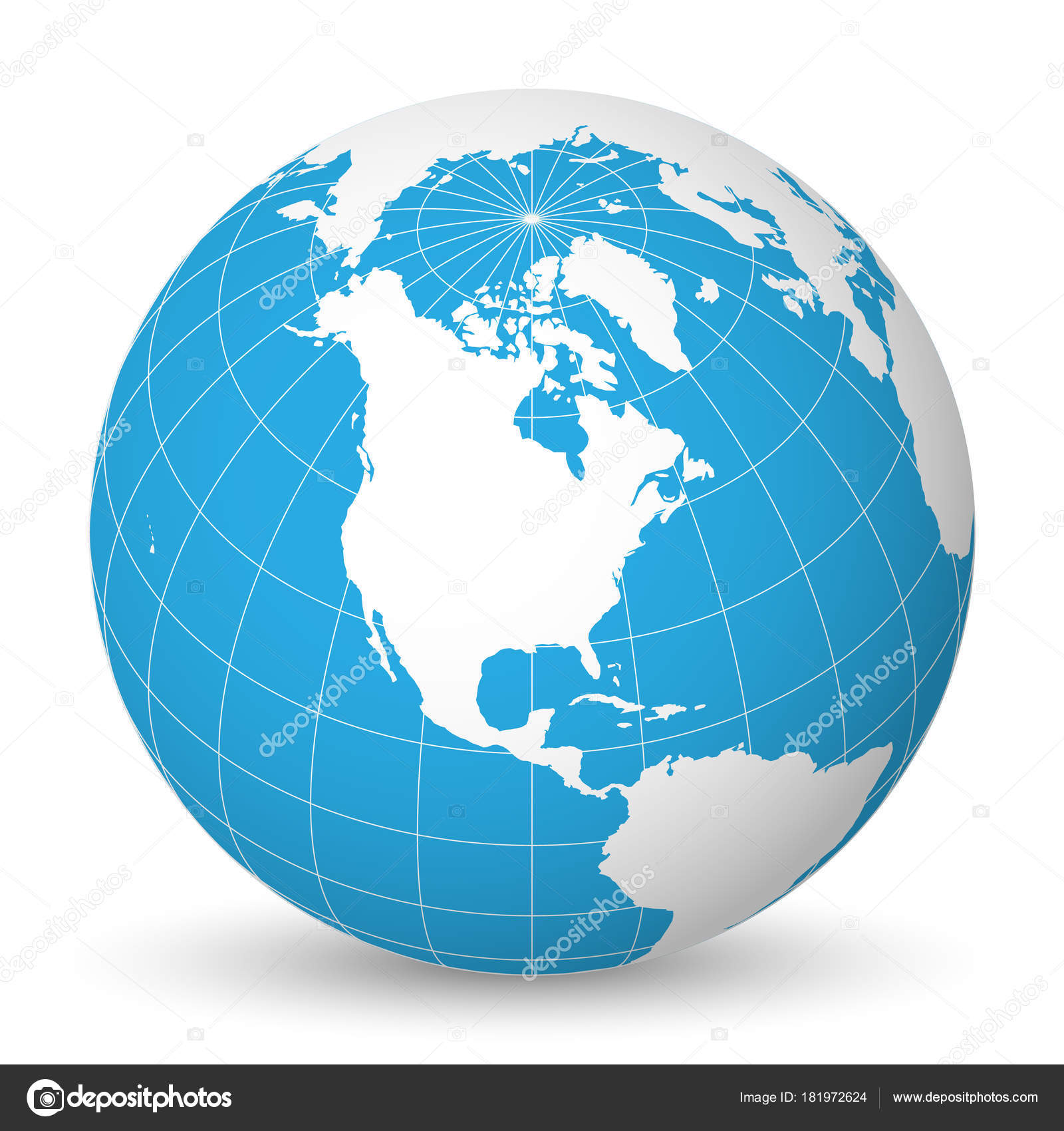 Earth globe with white world map and blue seas and oceans focused on earth globe with green world map and blue seas and oceans focused on north america with thin white meridians and parallels 3d vector illustration gumiabroncs Gallery