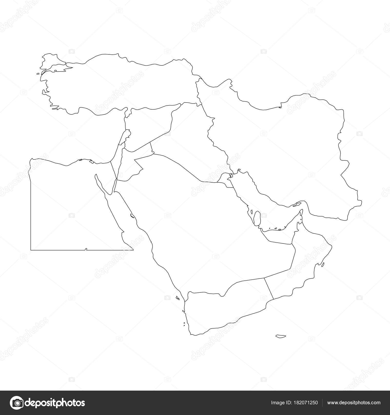 Blank Map Of Middle East, Or Near East. Simple Flat Outline Vector  Ilustration U2014