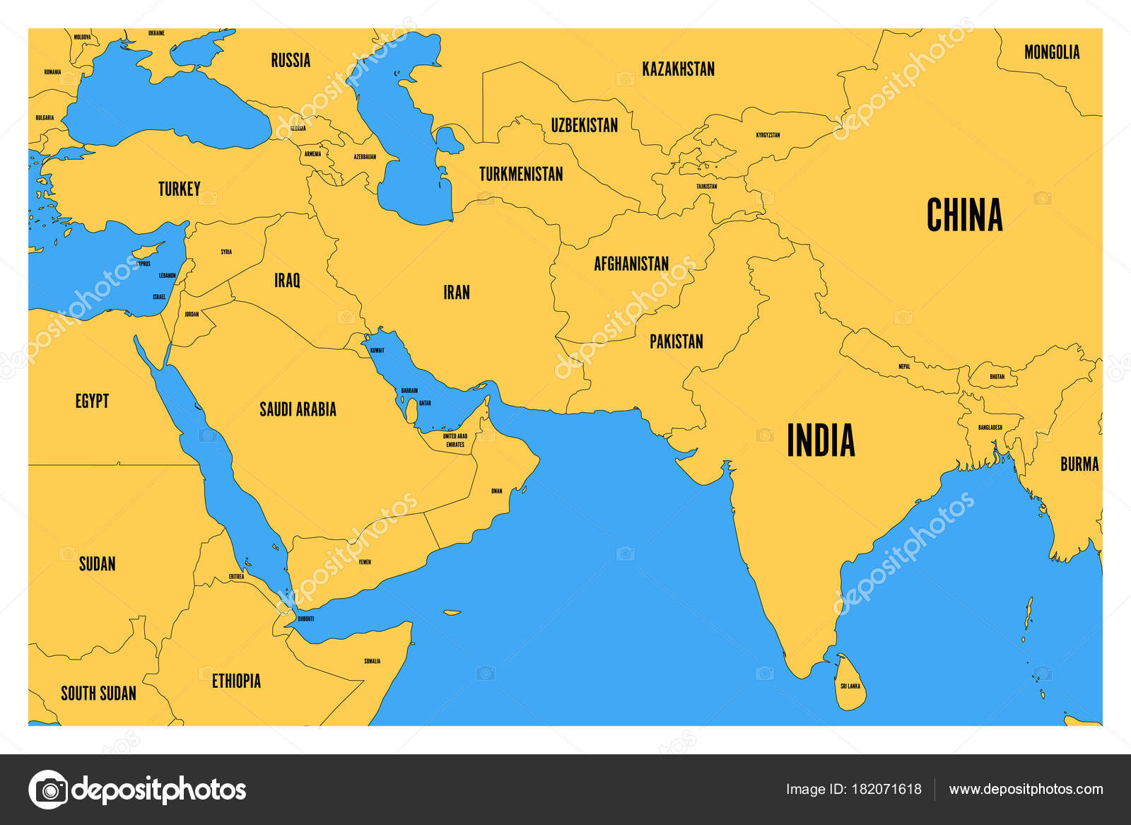 South asia world map commercial sewer diagram 1996 ford contour political map of south asia and middle east simple flat vector depositphotos 182071618 stock illustration political gumiabroncs Gallery