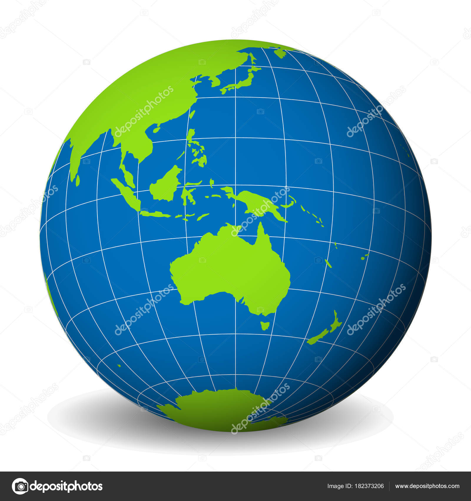 earth globe with green world map and blue seas and oceans focused on australia with