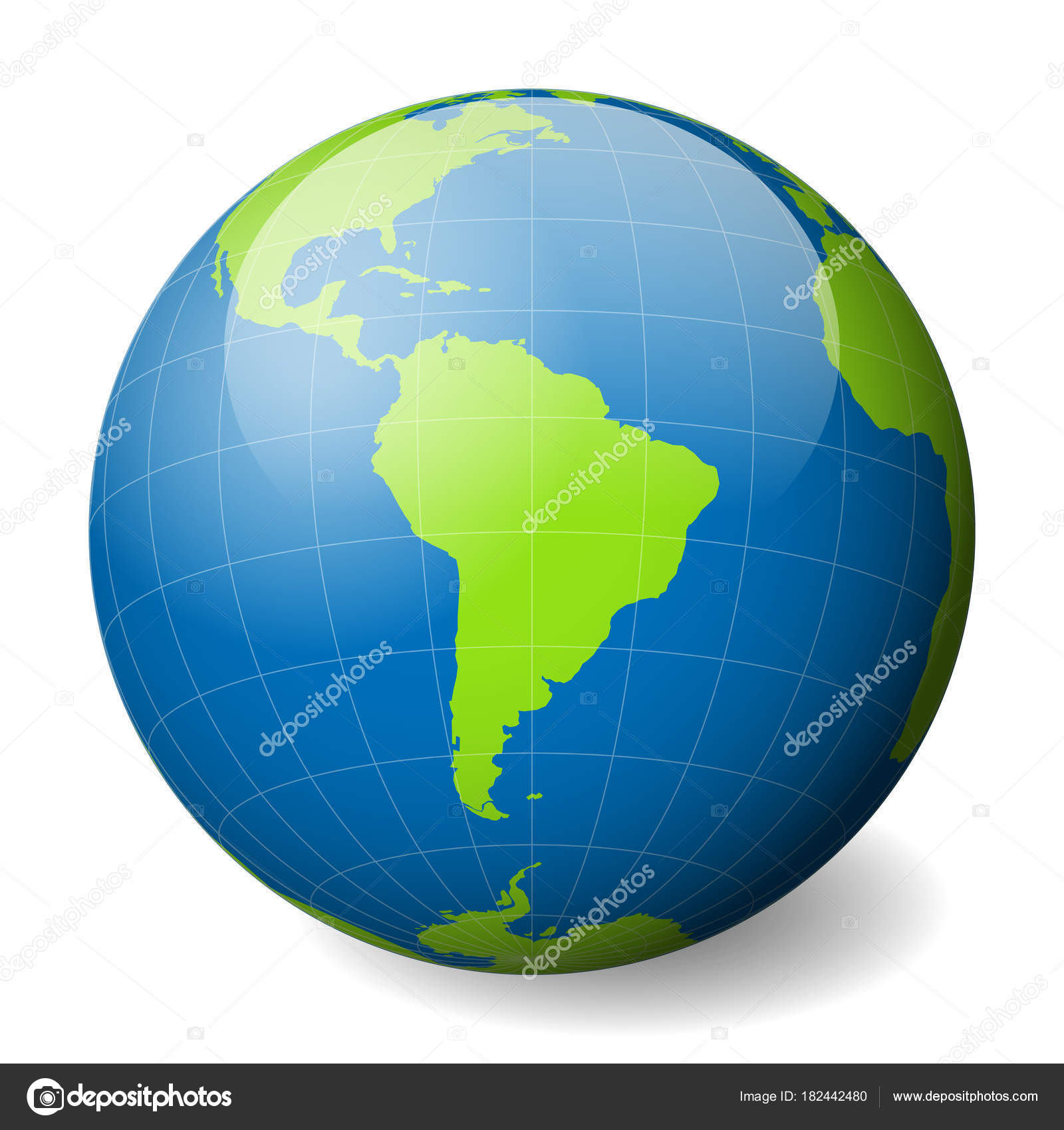 Earth globe with green world map and blue seas and oceans focused on earth globe with green world map and blue seas and oceans focused on south america with thin white meridians and parallels 3d glossy sphere vector gumiabroncs Gallery