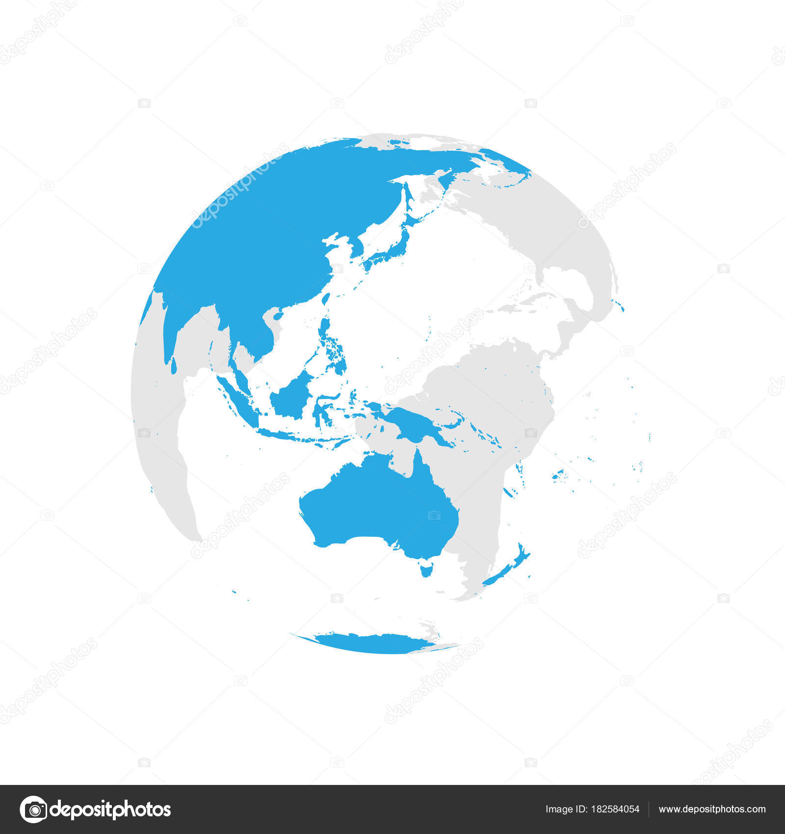 earth globe with blue world map focused on australia and pacific flat vector illustration