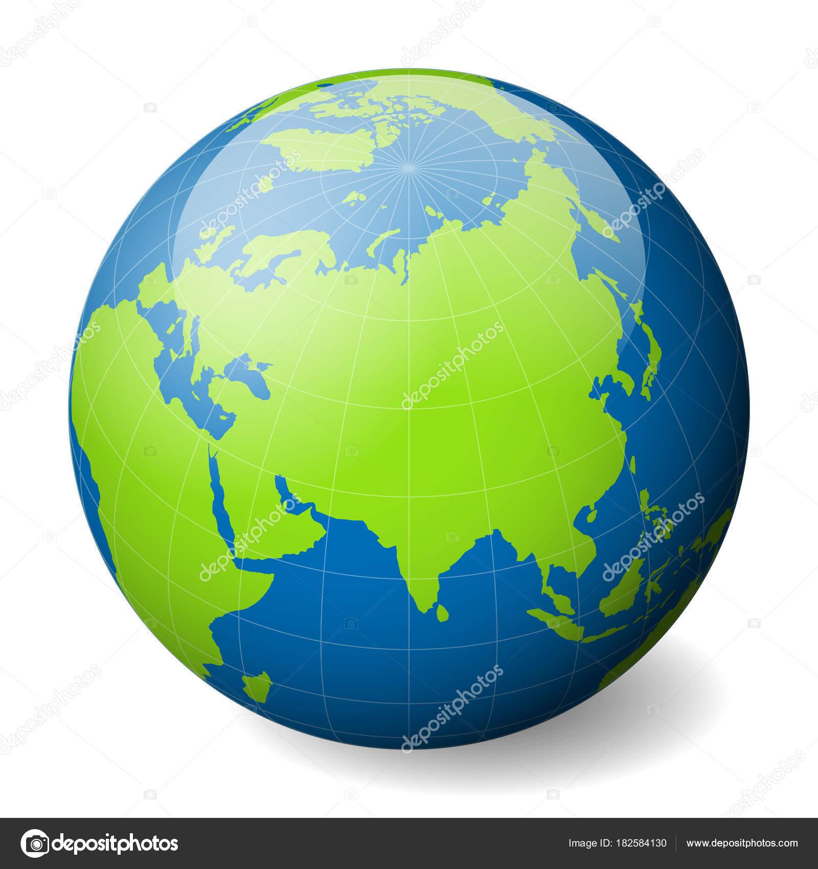 Cartina Del Mondo Con Meridiani E Paralleli.Globo Della Terra Con Il Mondo Verde Blu E Mappa Mari E
