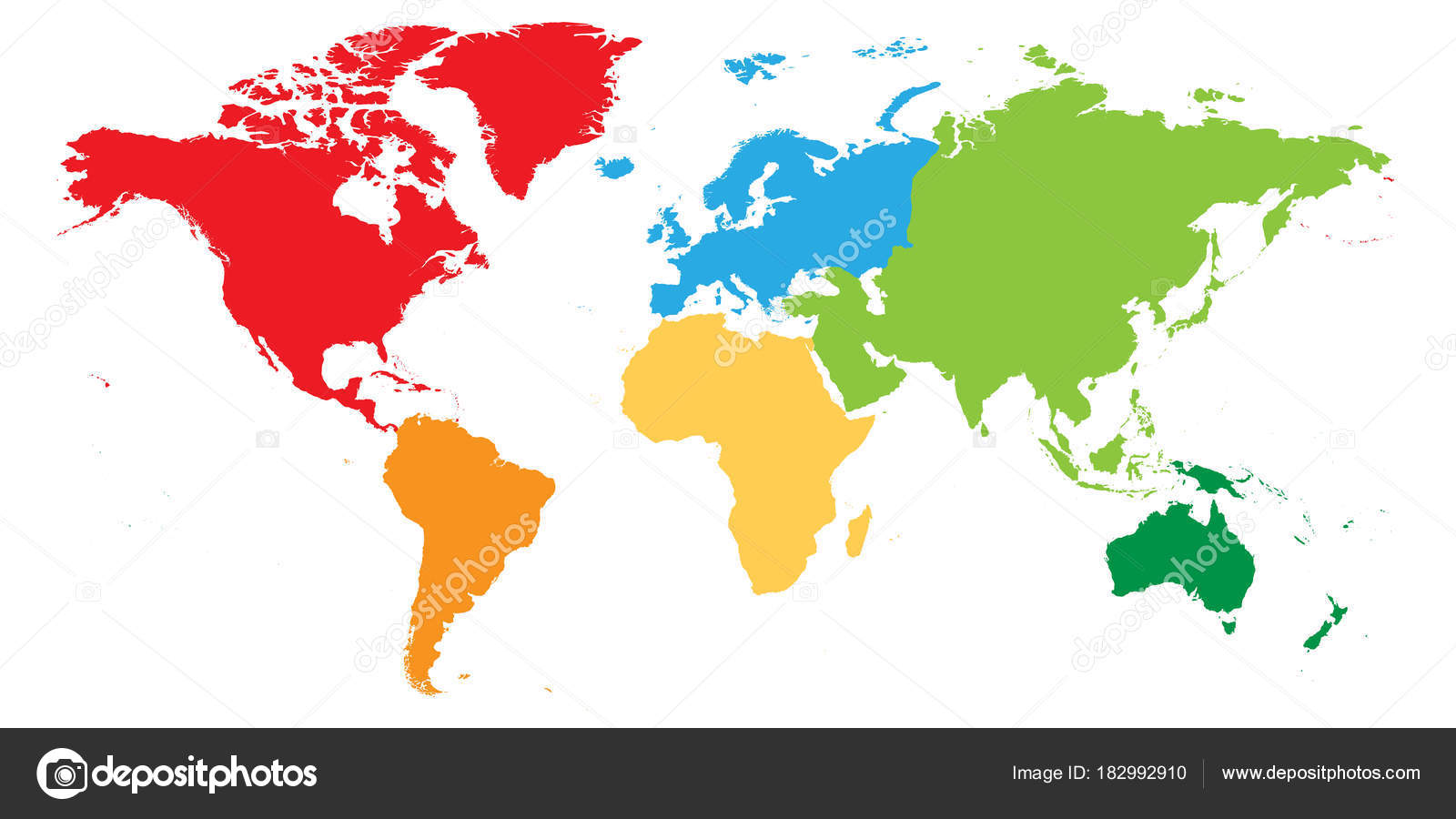 World map divided into six continents each continent in different world map divided into six continents each continent in different color simple flat vector gumiabroncs Choice Image