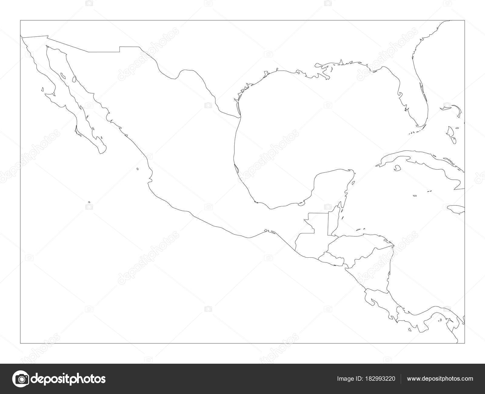 Blank Political Map Of Central America And Mexico. Simple Thin Black  Outline Vector Illustration U2014
