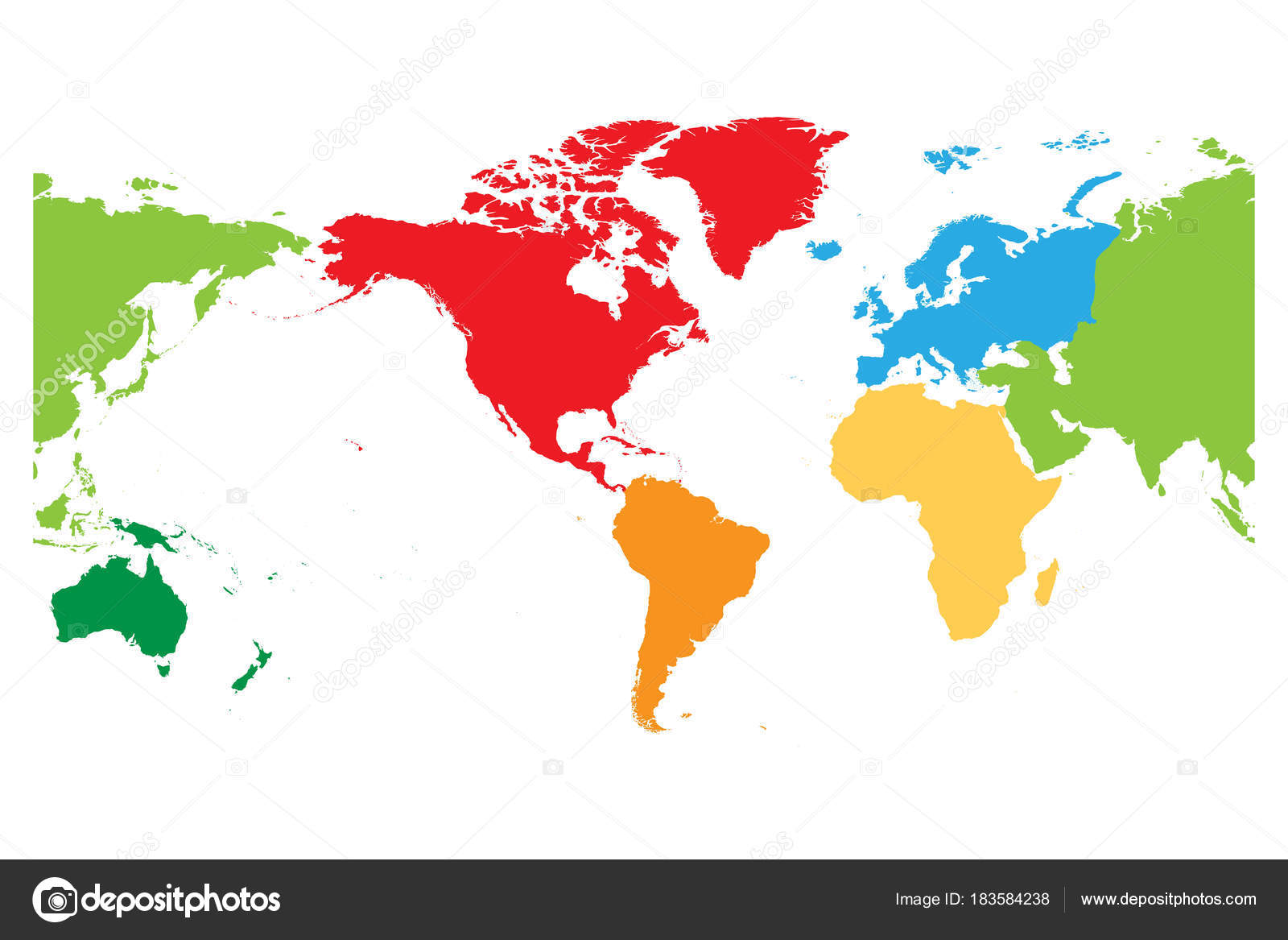 World map divided into six continents americas centered each world map divided into six continents americas centered each continent in different color gumiabroncs Image collections