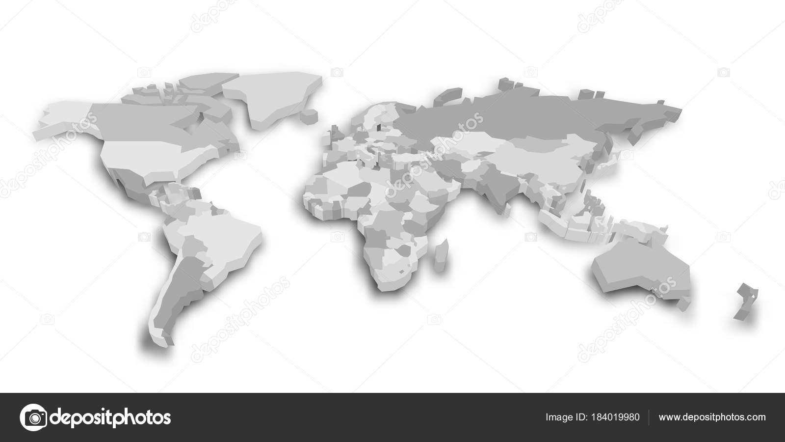 3d Political Map Of World Vector Illustration Stock Vector