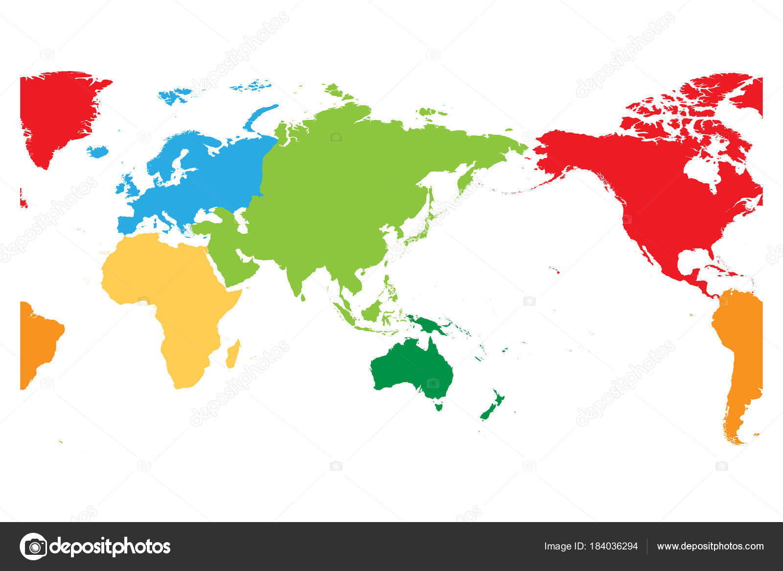 World map divided into six continents asia and australia centered world map divided into six continents asia and australia centered each continent in different gumiabroncs Choice Image