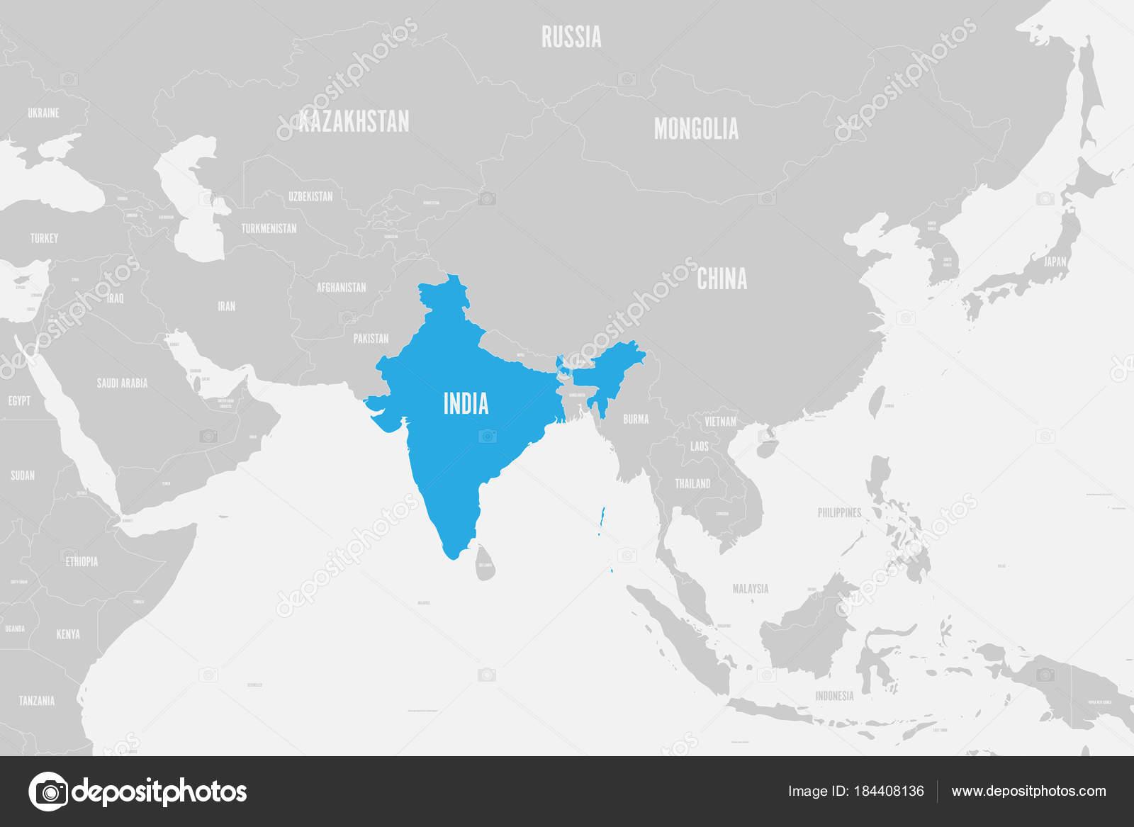 Südasien Karte.Politische Karte Von Südasien Indien Blau Markiert Vektor