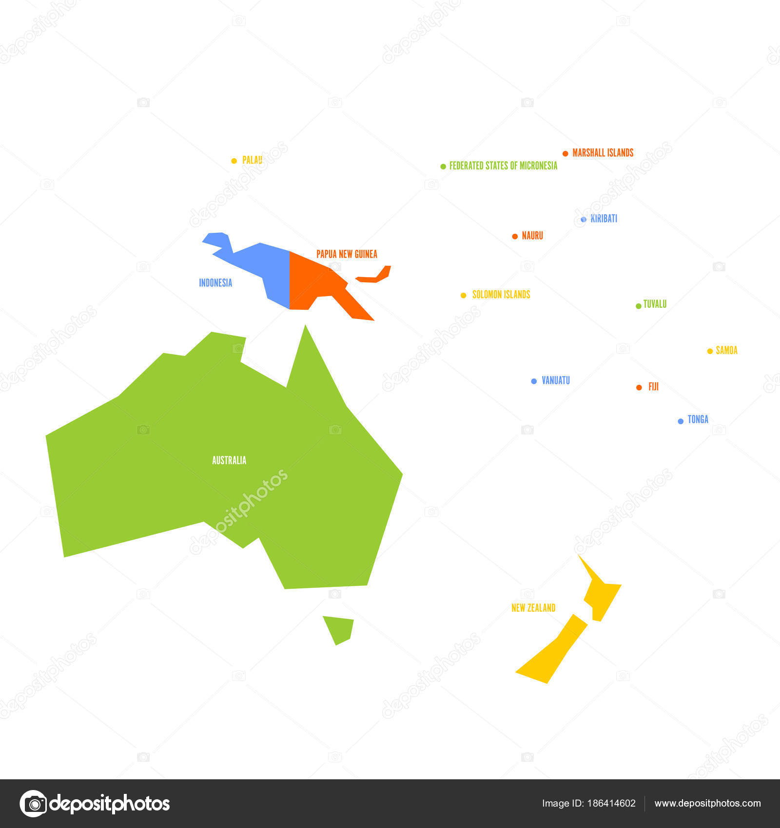 very simplified infographical political map of australia and oceania simple geometric vector illustration stock