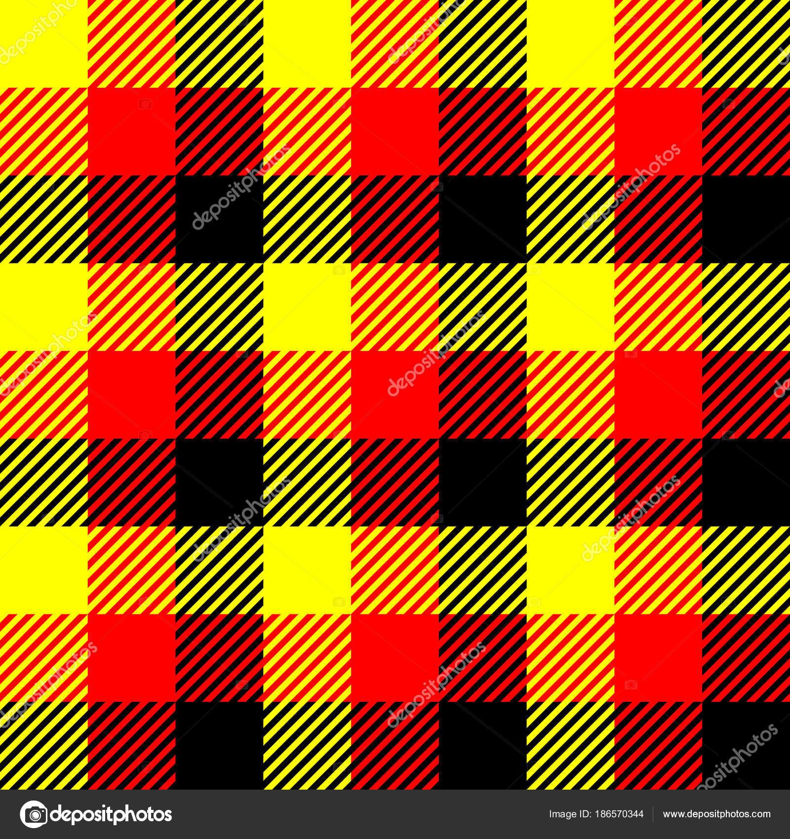 Holzfäller-Karo-Muster in rot, gelb und schwarz. Nahtlose ...