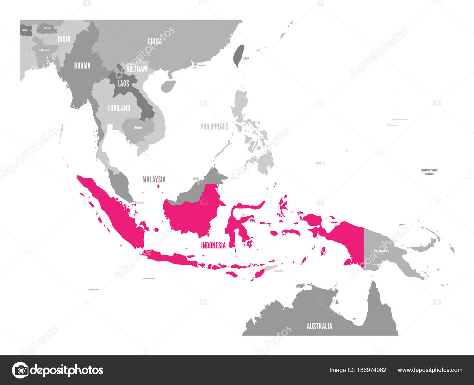 Vector map of indonesia pink highlighted in southeast asia region vector map of indonesia pink highlighted in southeast asia region stock vector gumiabroncs Choice Image