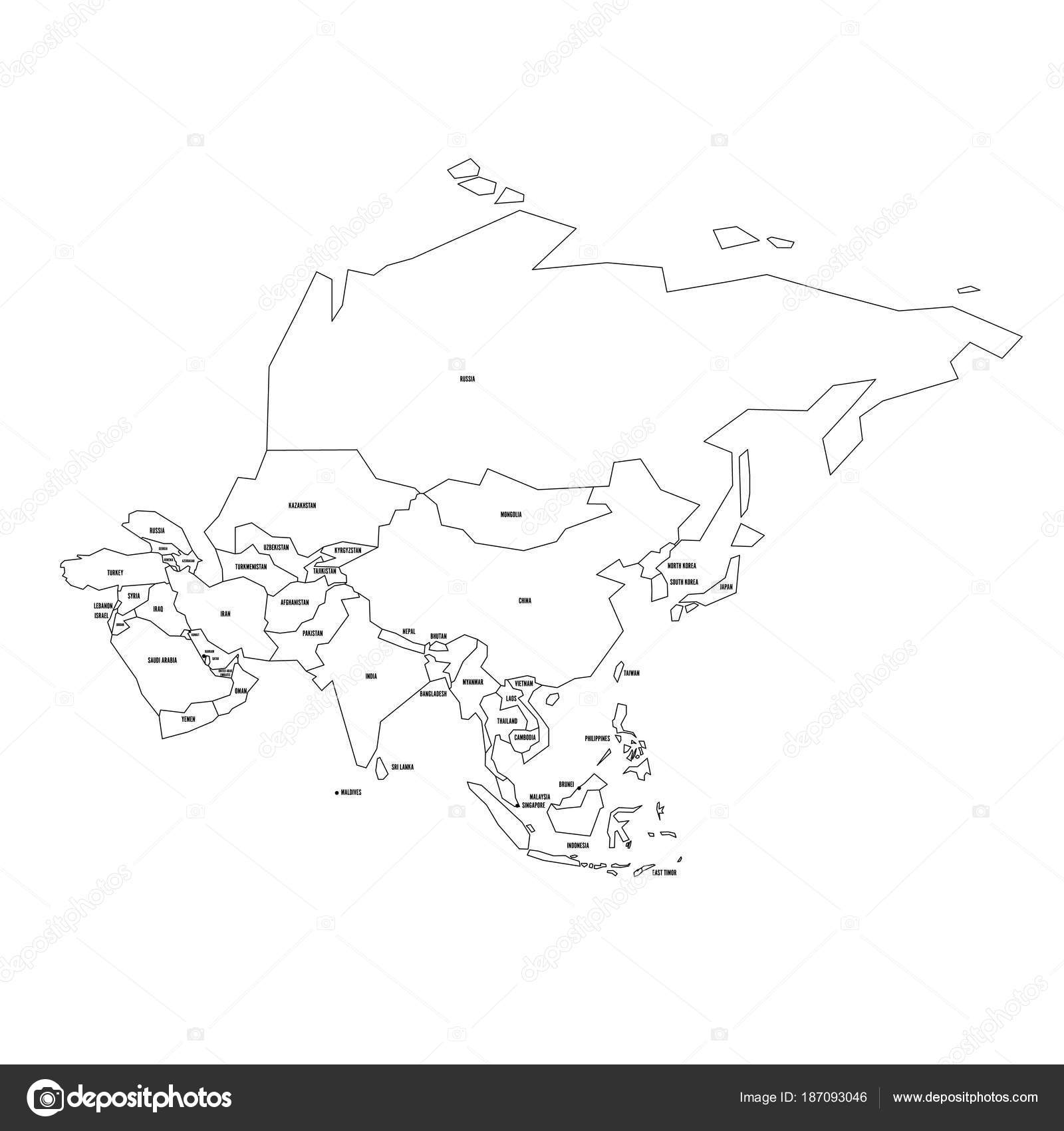 Political map of asia simplified thin black wireframe outline with political map of asia simplified thin black wireframe outline with national borders and country name gumiabroncs Choice Image
