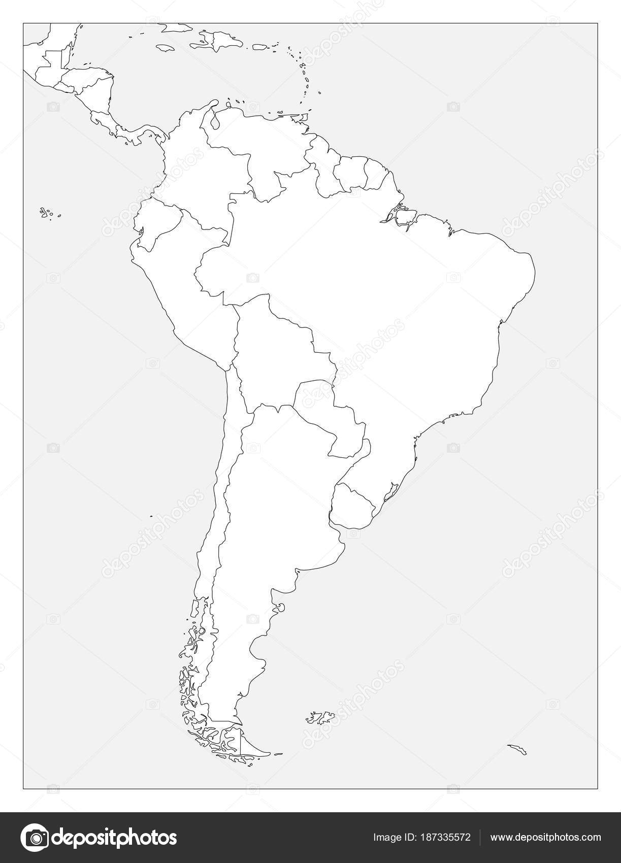Blank Political Map Of South America Simple Flat Vector Outline Map
