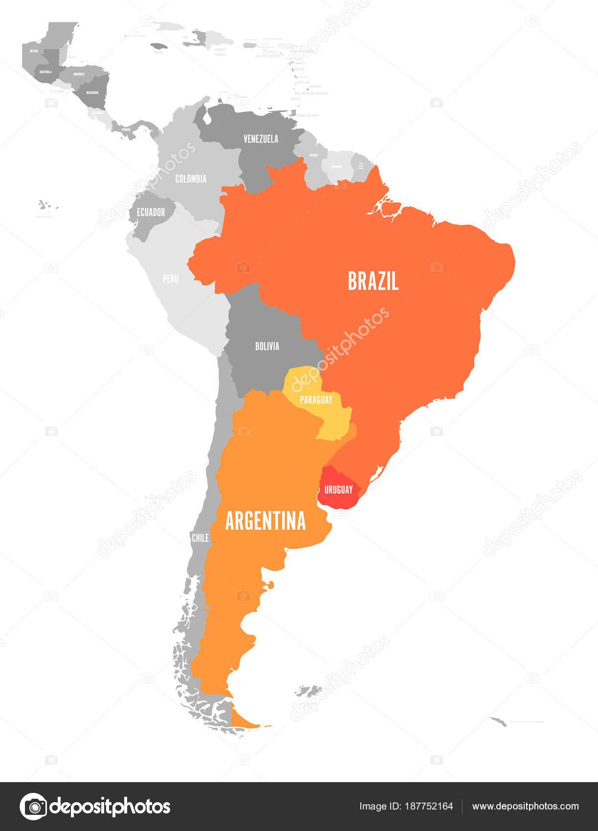 Karte Von Mercosur Ländern Südamerikanische Handelsverband Orange