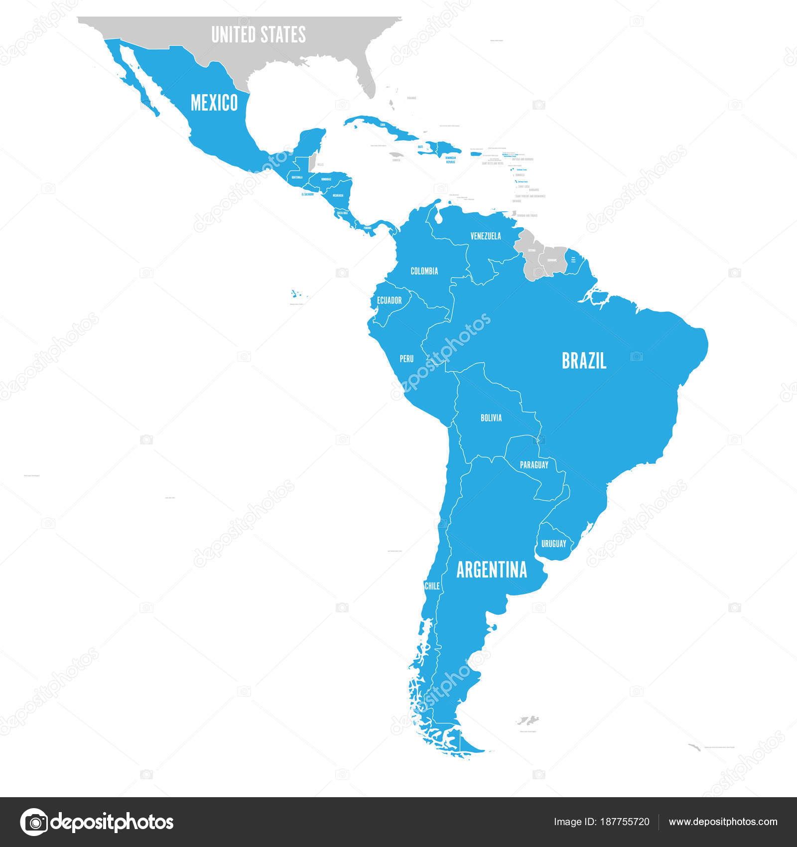 Political Map Of Latin America Latin American States Blue