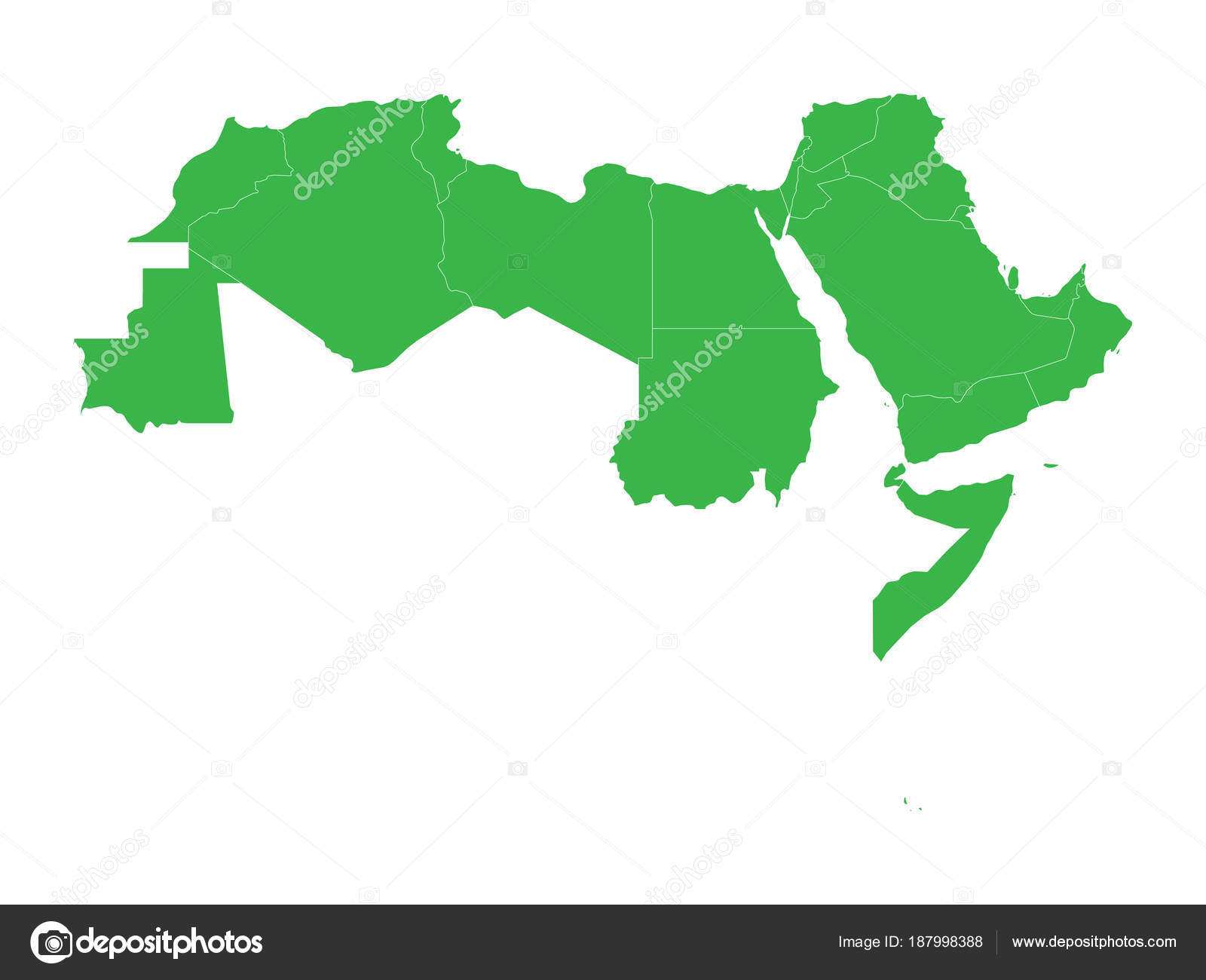 arab world states blank political map of 22 arabic speaking countries of the arab