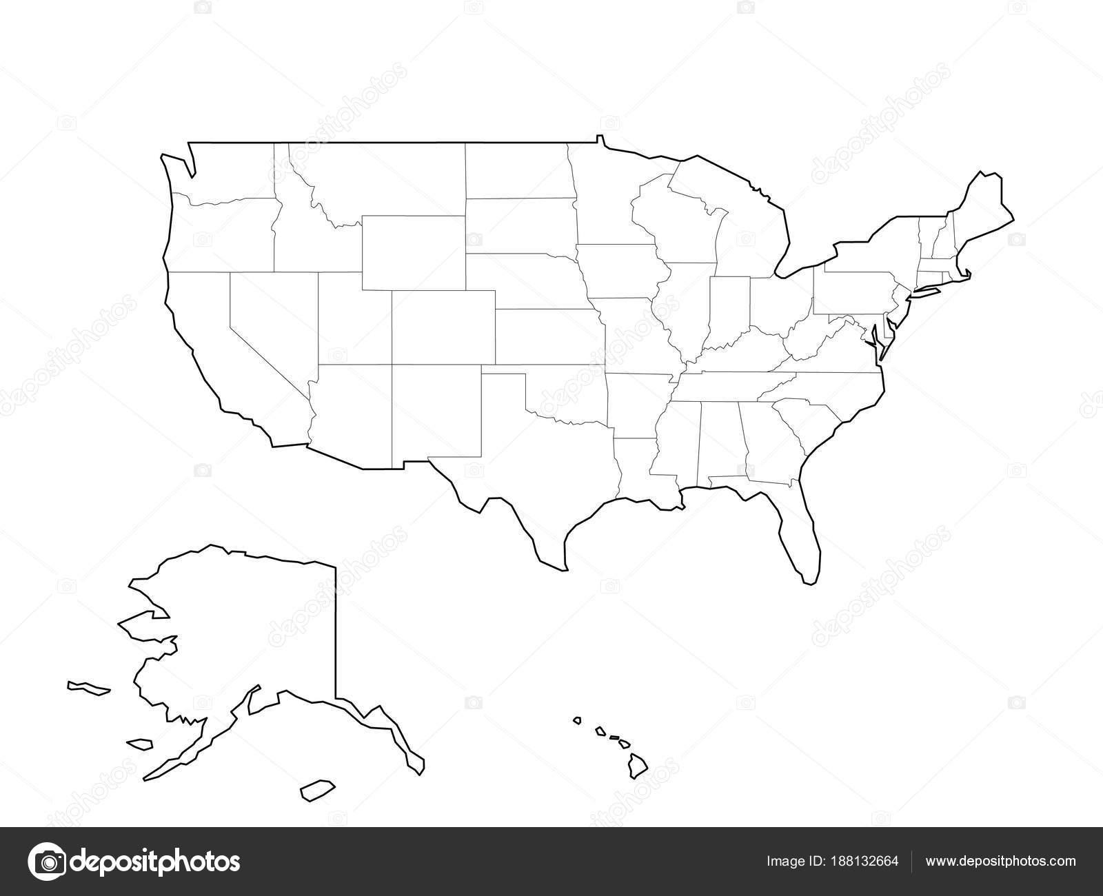 Cartina Muta Degli Stati Uniti.Vettore Usa Cartina Muta Cartina Muta In Bianco E Nero Di