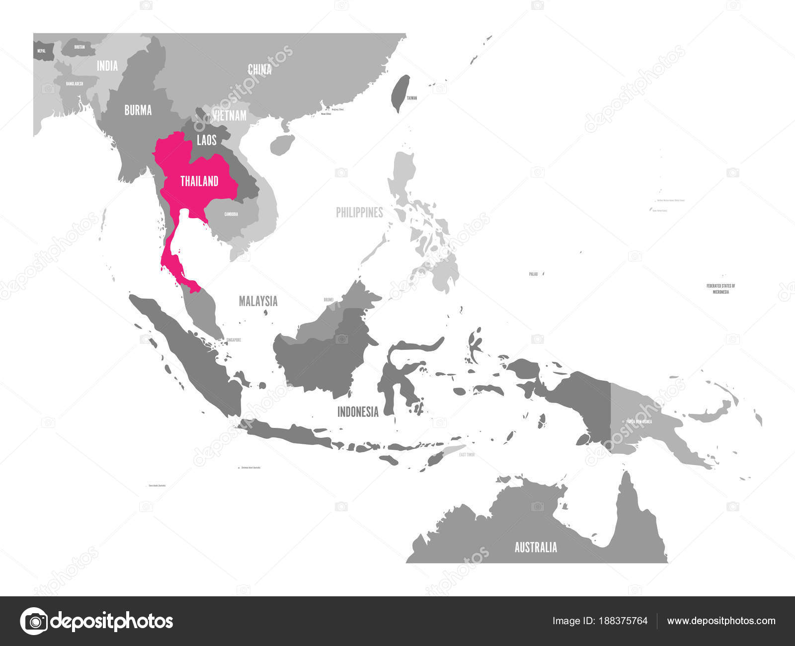 vector map of laos pink highlighted in southeast asia region stock vector