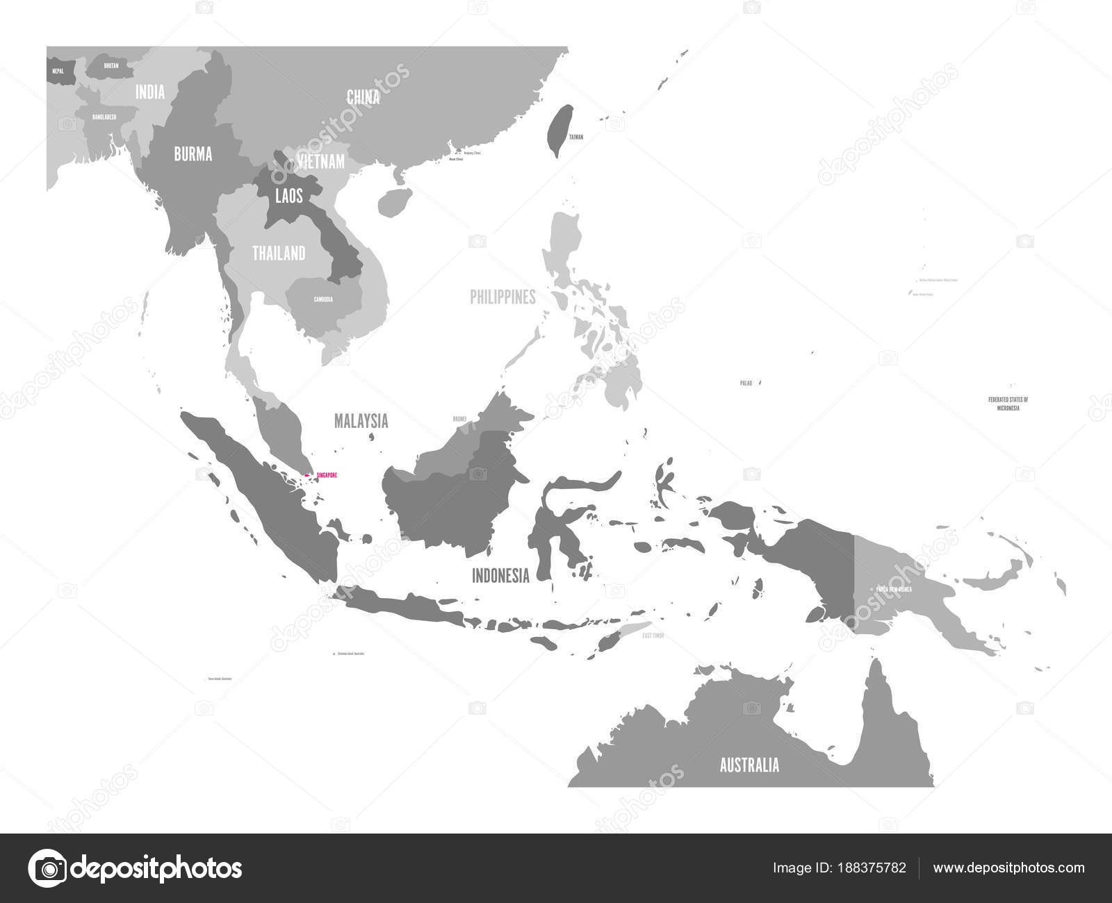 Vector map of Singapore. Pink highlighted in Southeast Asia region ...