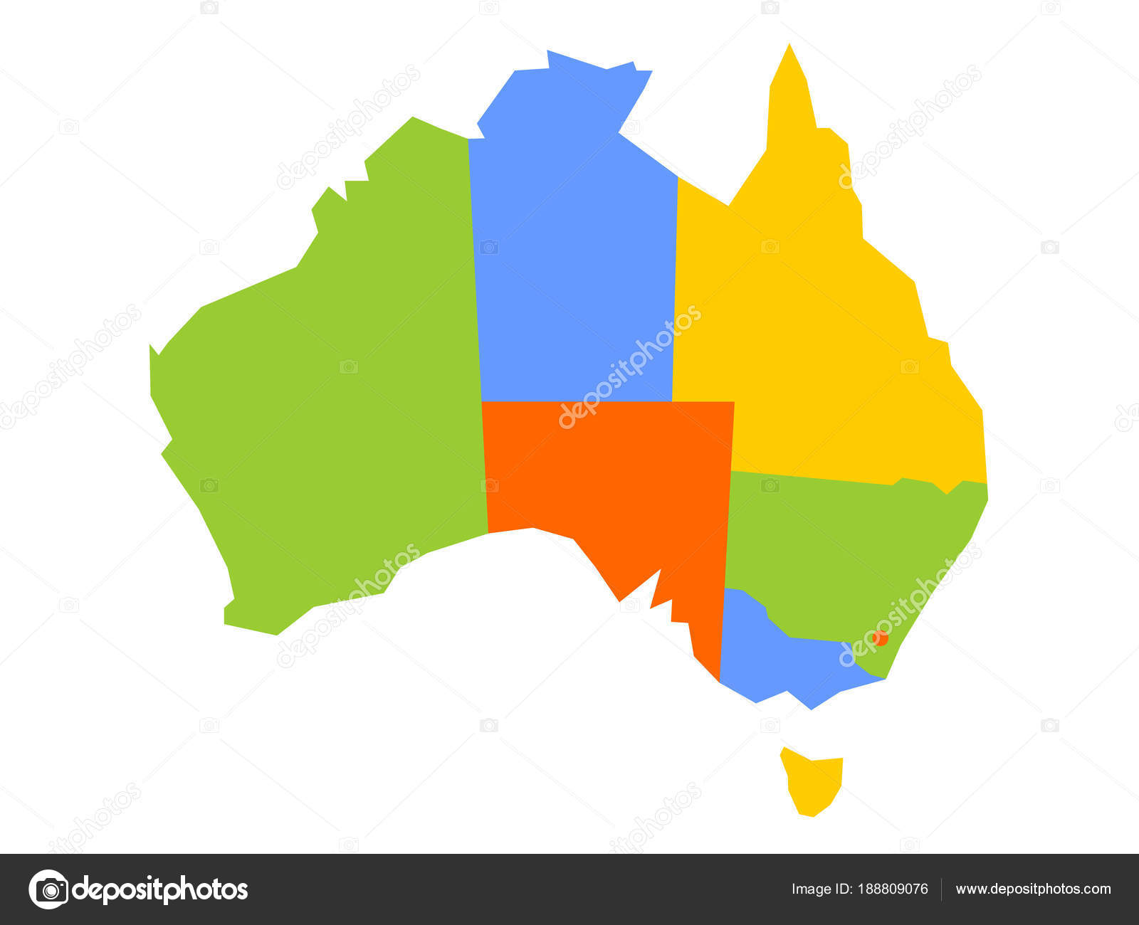 Colorful blank map of Australia. Vector illustration — Stock Vector ...