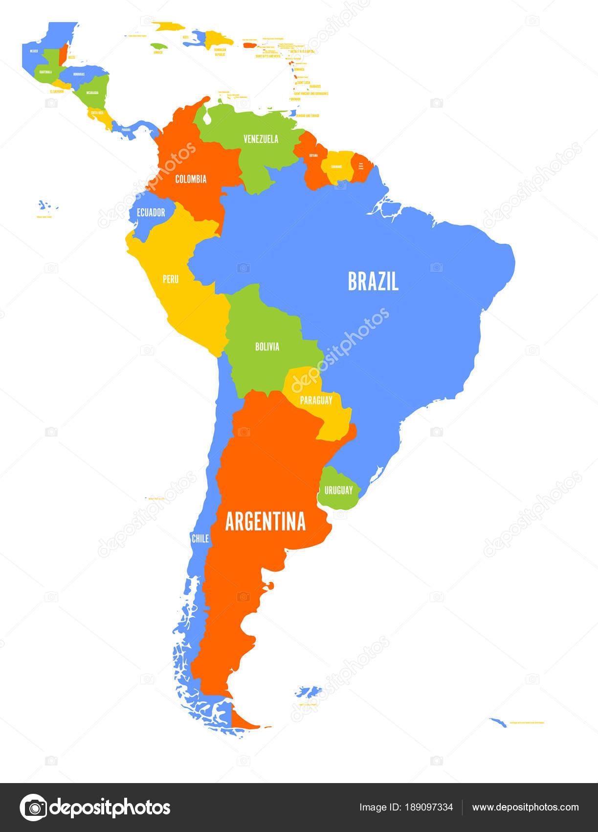 Imágenes: sur america y sus paises | Mapa del vector político de ...