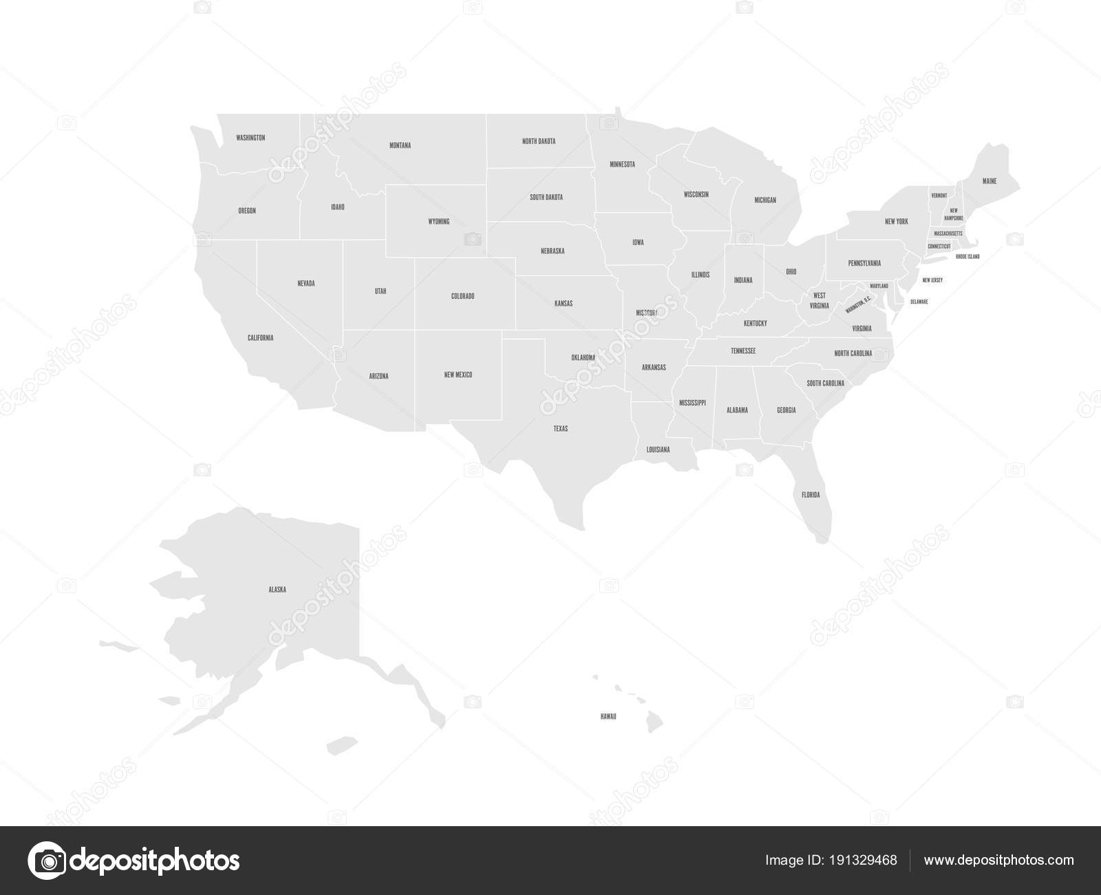 Vector map of United States of America with state names — Stock ...