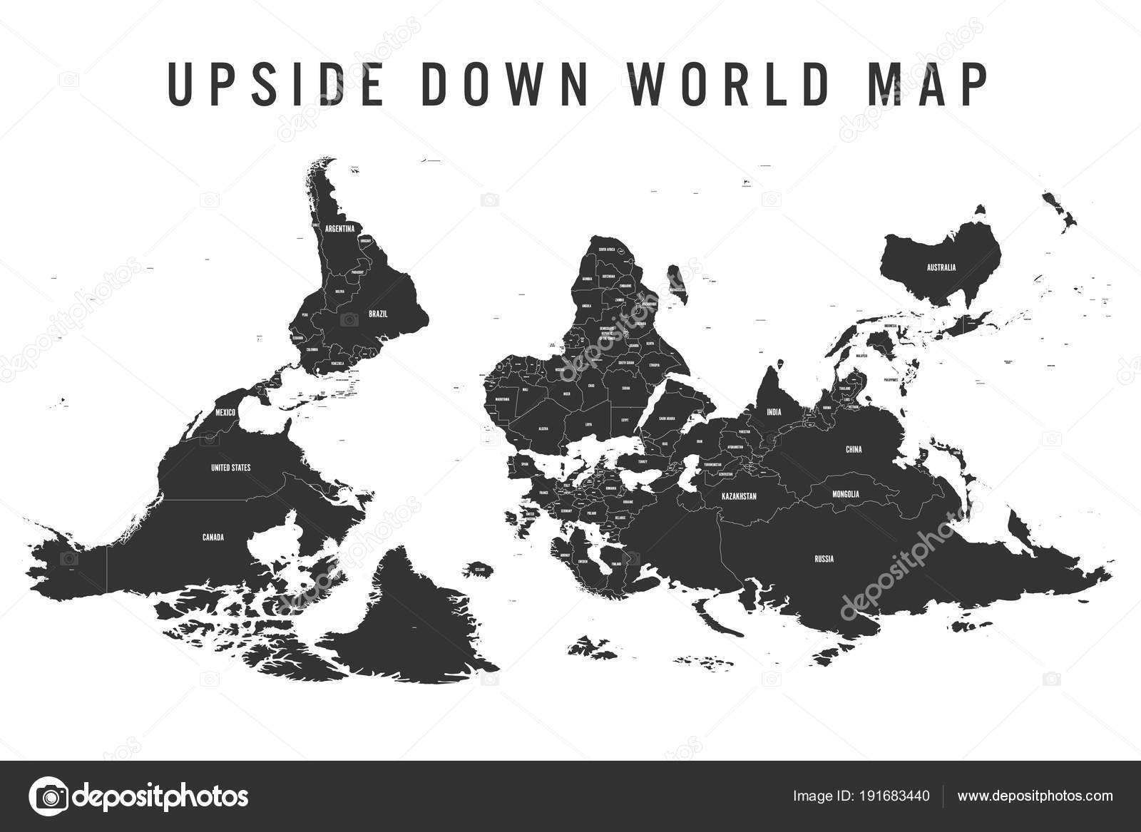 Reversed or upside down political map of world south up orientation reversed or upside down political map of world south up orientation vector illustration gumiabroncs Gallery