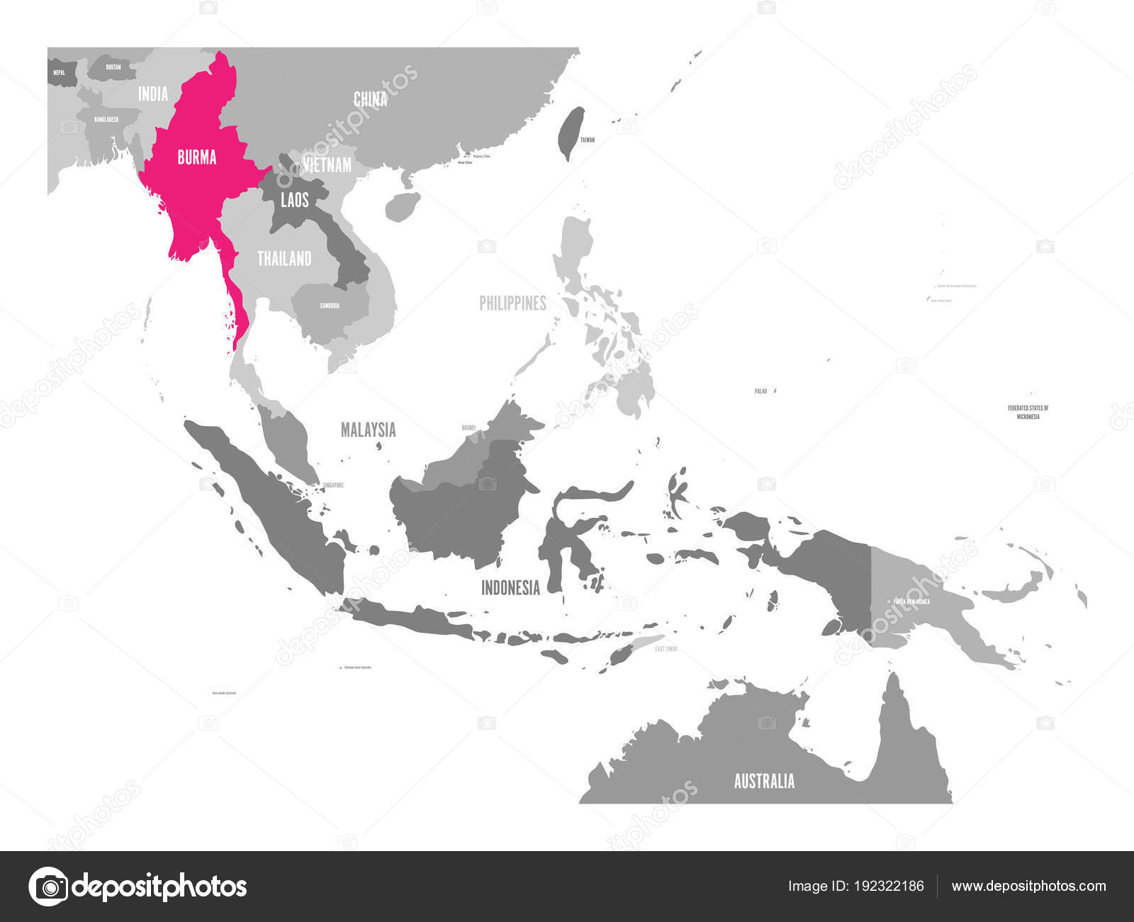 Vector map of Burma or Myanmar Pink highlighted in Southeast Asia
