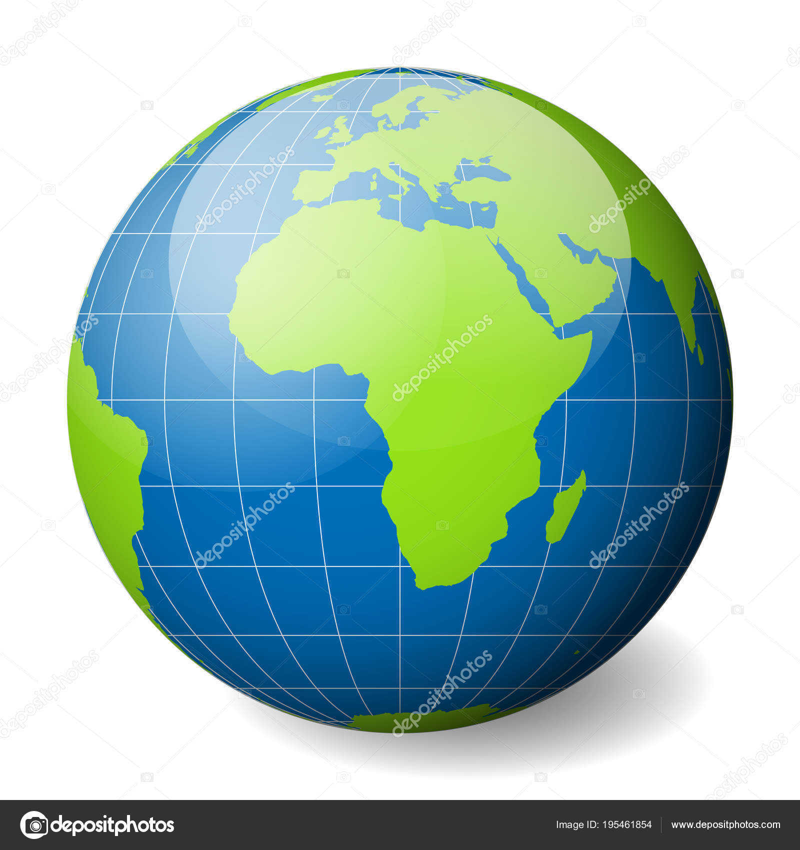 Earth Globe With Green World Map And Blue Seas And Oceans Focused On