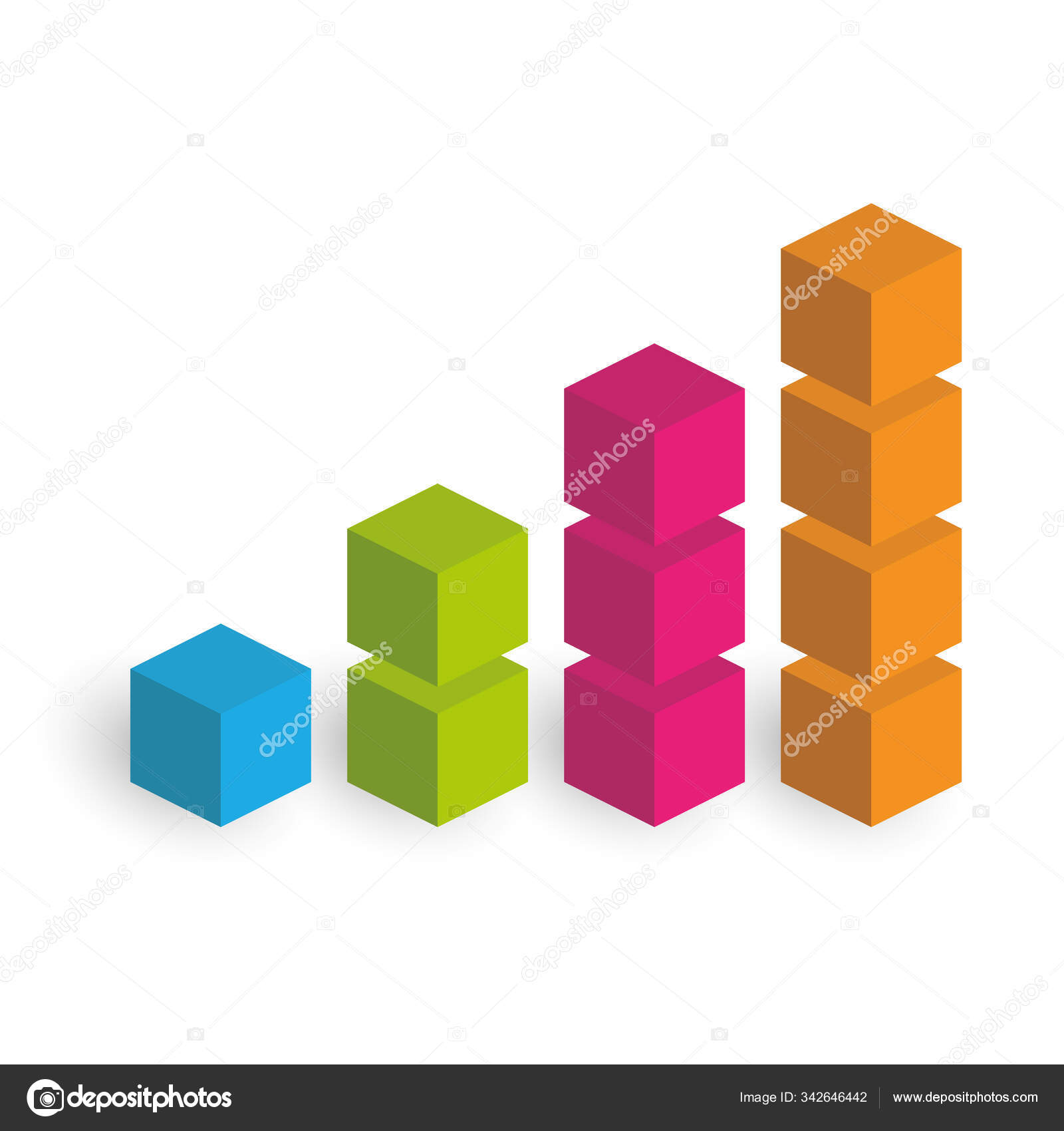 Bar Chart Of 4 Growing Columns 3d Isometric Colorful Vector Graph