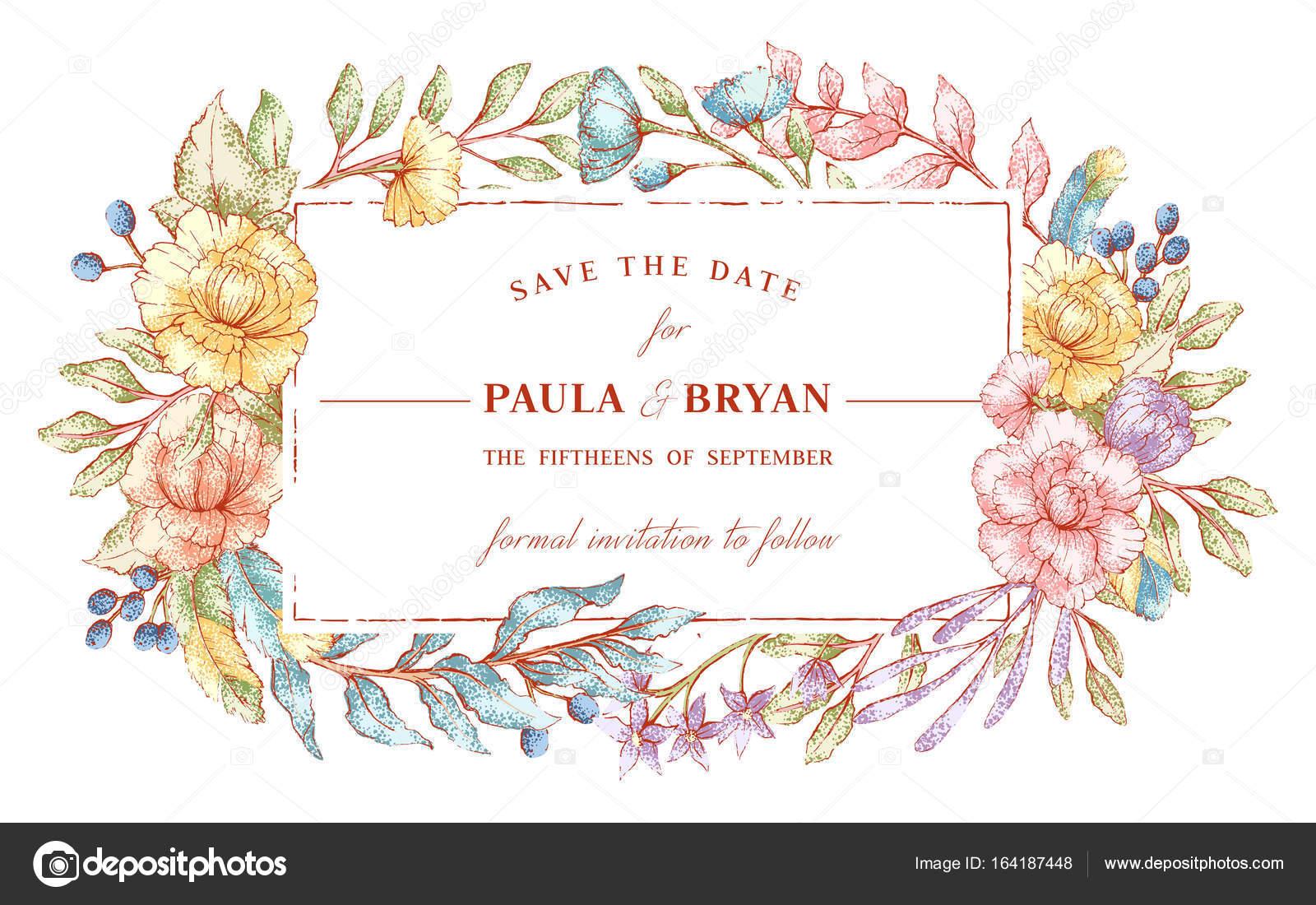 plantilla marco floral — Vector de stock © JalloM #164187448