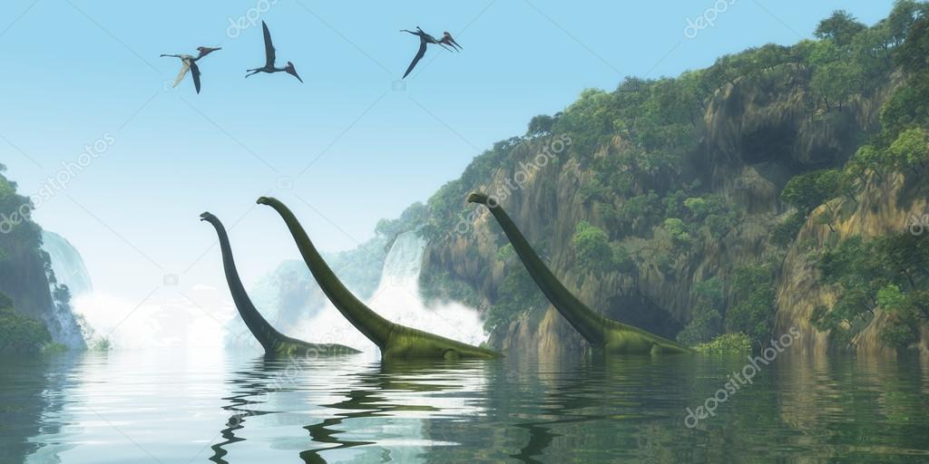 Mamenchisaurus Dinosaur Foggy Day